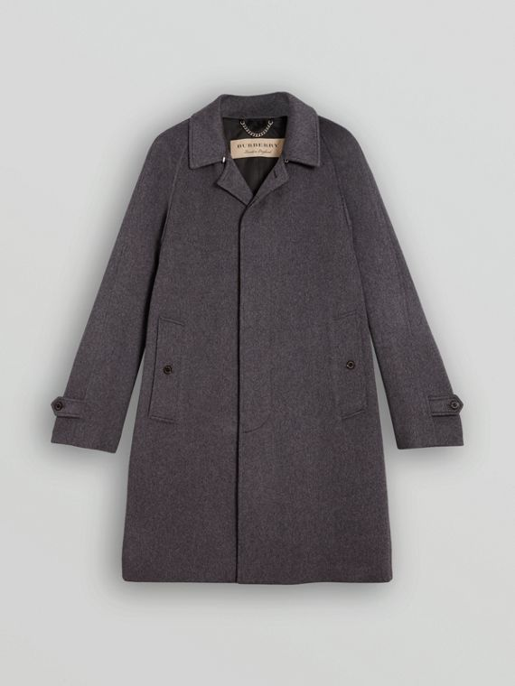 Cashmere Car Coat in Pewter Melange