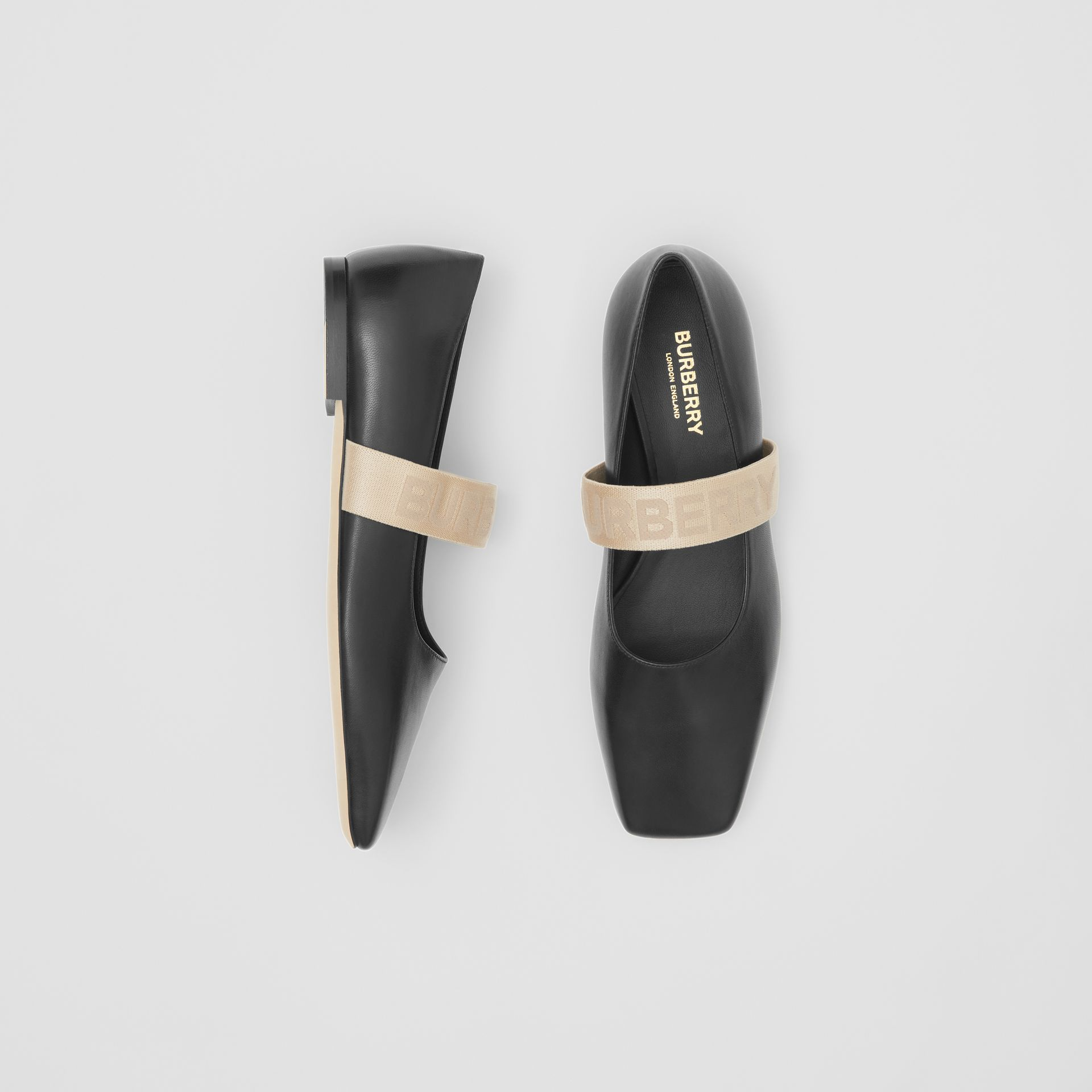 Logo Detail Lambskin Flats in Black - Women | Burberry Singapore - gallery image 0