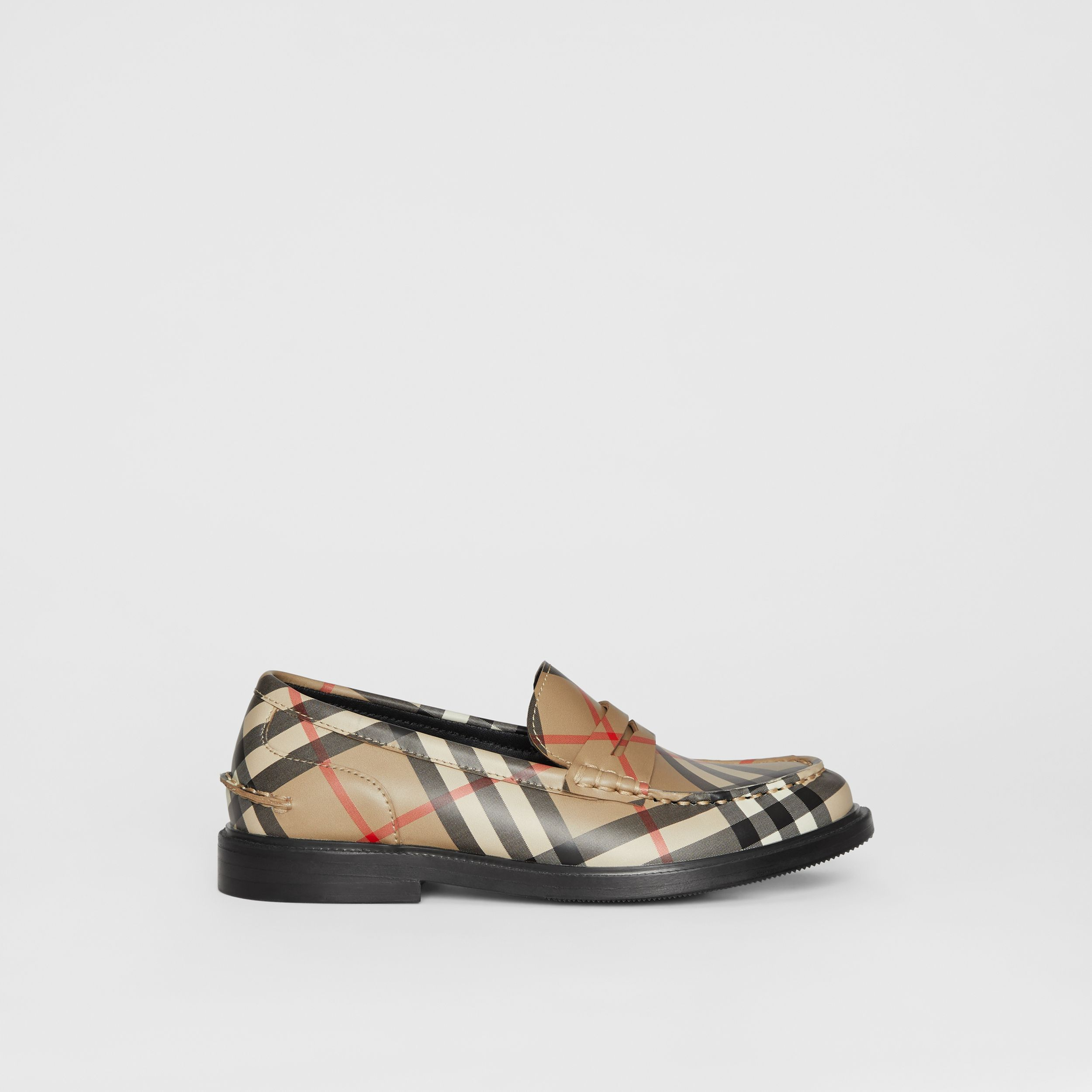 Vintage check Leather Loafers in Archive Beige - Children | Burberry - 4