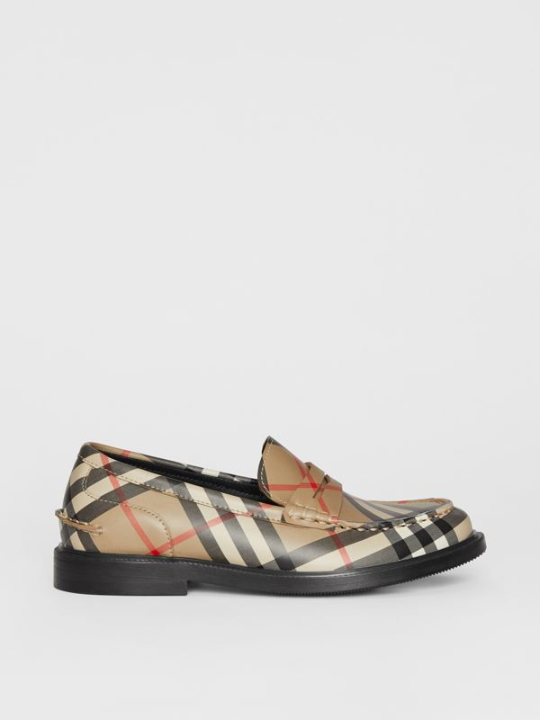Vintage check Leather Loafers in Archive Beige - Children | Burberry - cell image 3