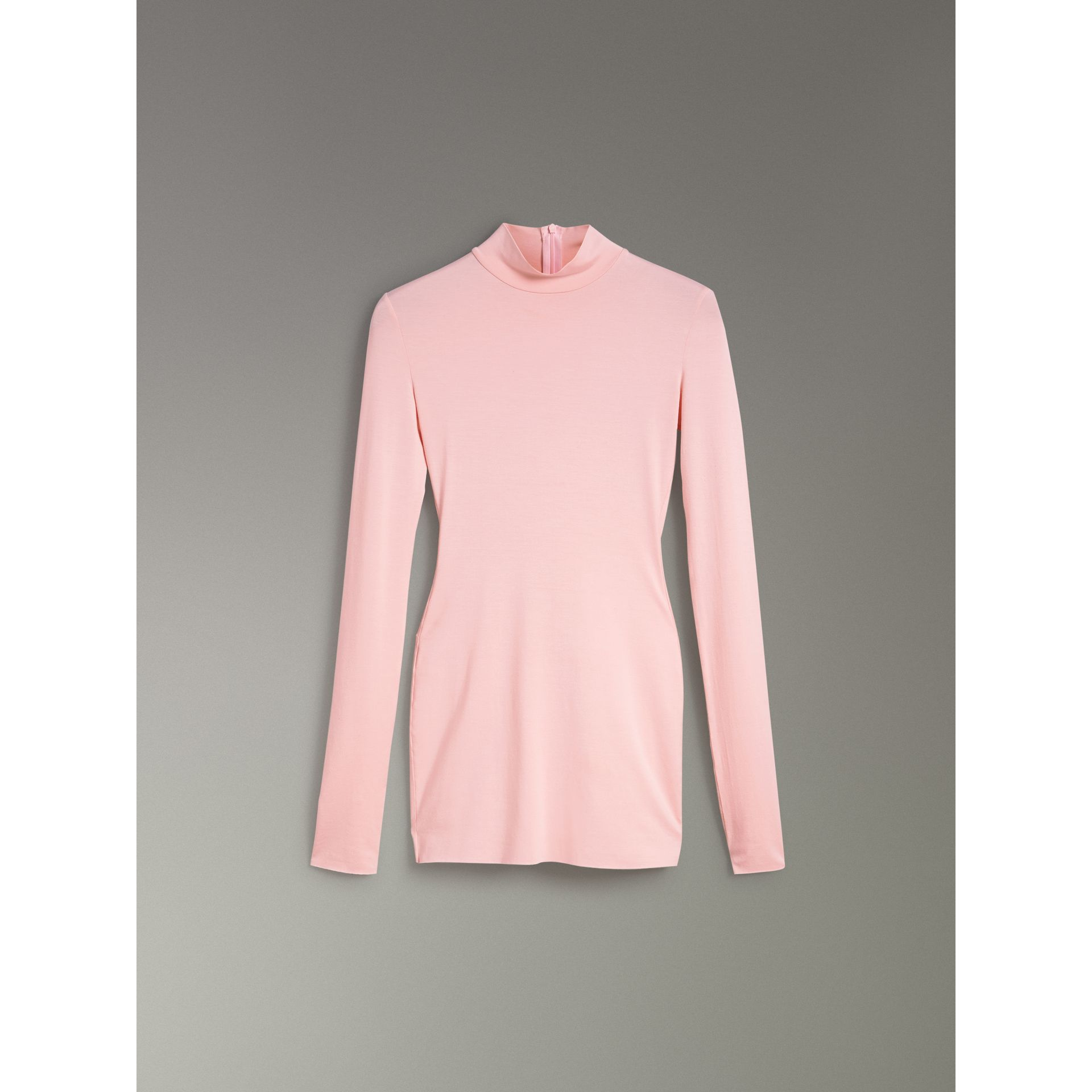 Stretch Modal Silk Turtleneck Top in Light Pink - Women | Burberry United Kingdom - gallery image 3