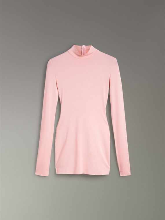 Stretch Modal Silk Turtleneck Top in Light Pink - Women | Burberry Australia - cell image 3