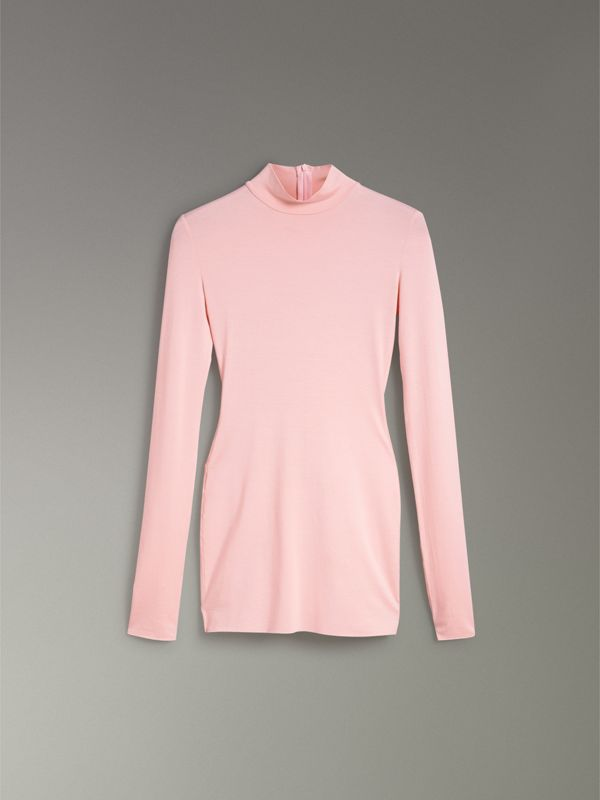 Stretch Modal Silk Turtleneck Top in Light Pink - Women | Burberry - cell image 3