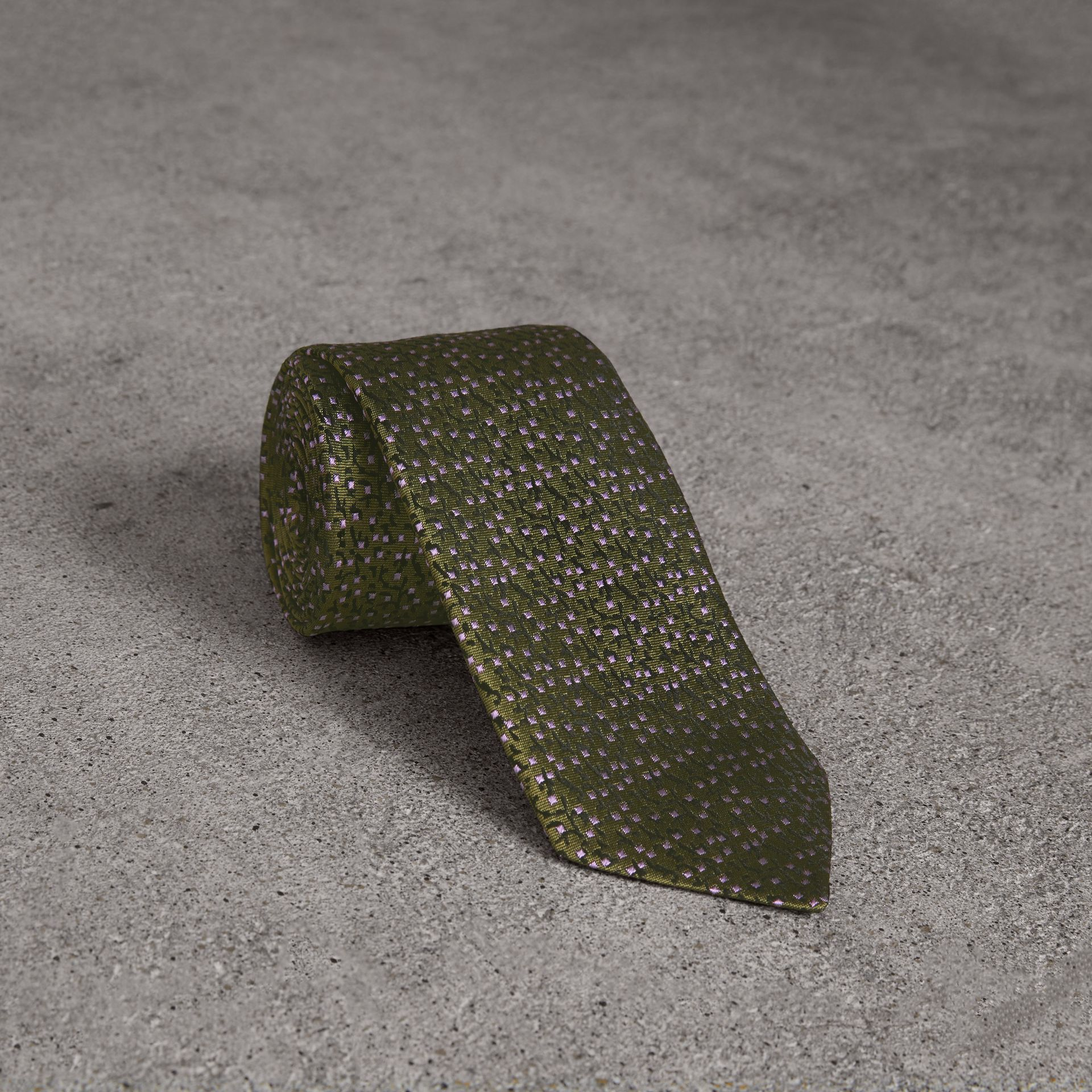 Modern Cut Floral Spot Silk Tie in Moss Green - Men | Burberry - gallery image 0