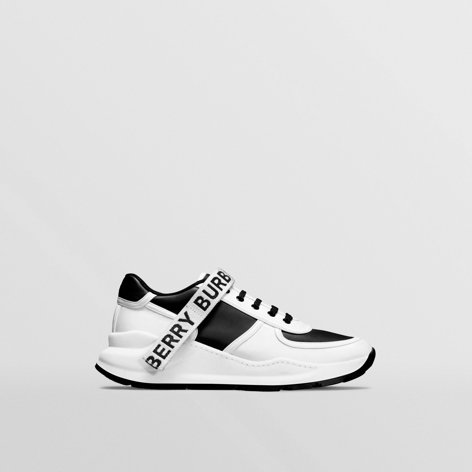 Logo Detail Leather and Nylon Sneakers in Black/optic White - Men | Burberry - gallery image 0