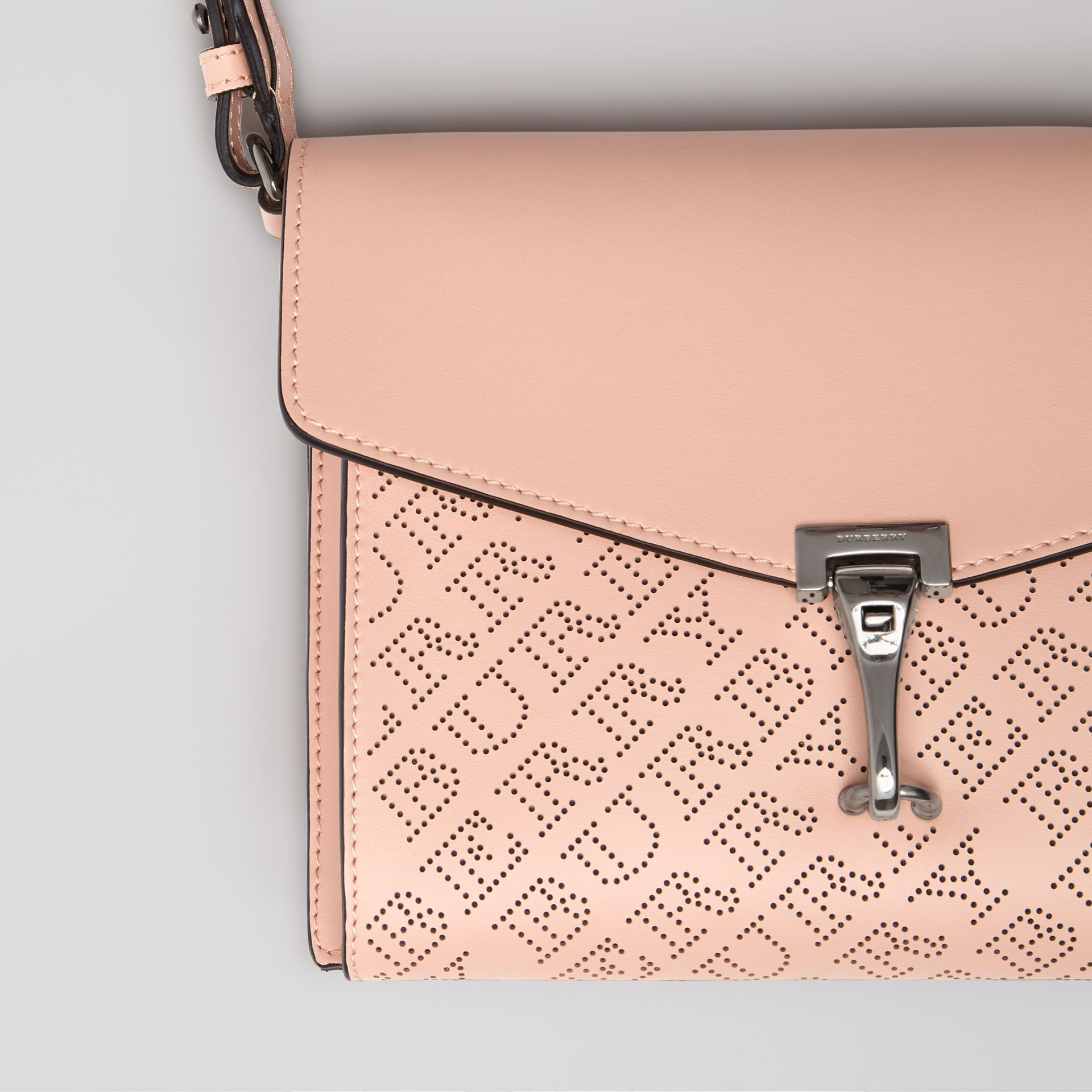 Small Perforated Logo Leather Crossbody Bag in Pale Fawn Pink - Women | Burberry - gallery image 1
