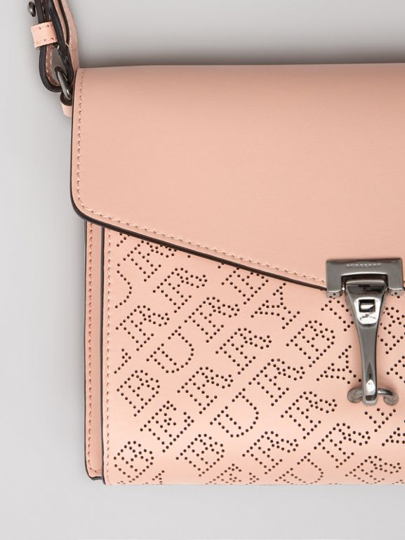 Small Perforated Logo Leather Crossbody Bag in Pale Fawn Pink - Women | Burberry - cell image 1
