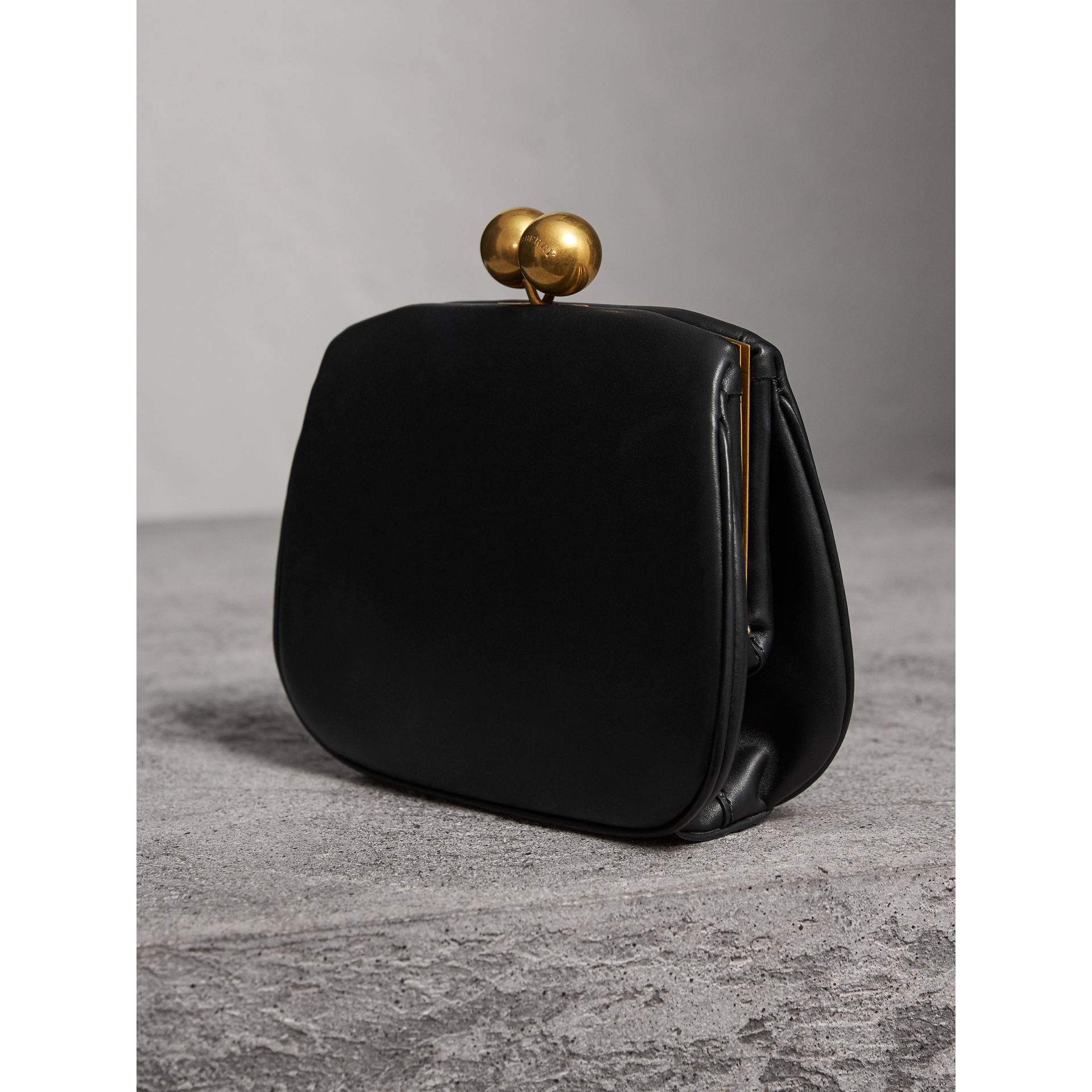 Small Leather Metal Frame Clutch Bag in Black - Women | Burberry - gallery image 3