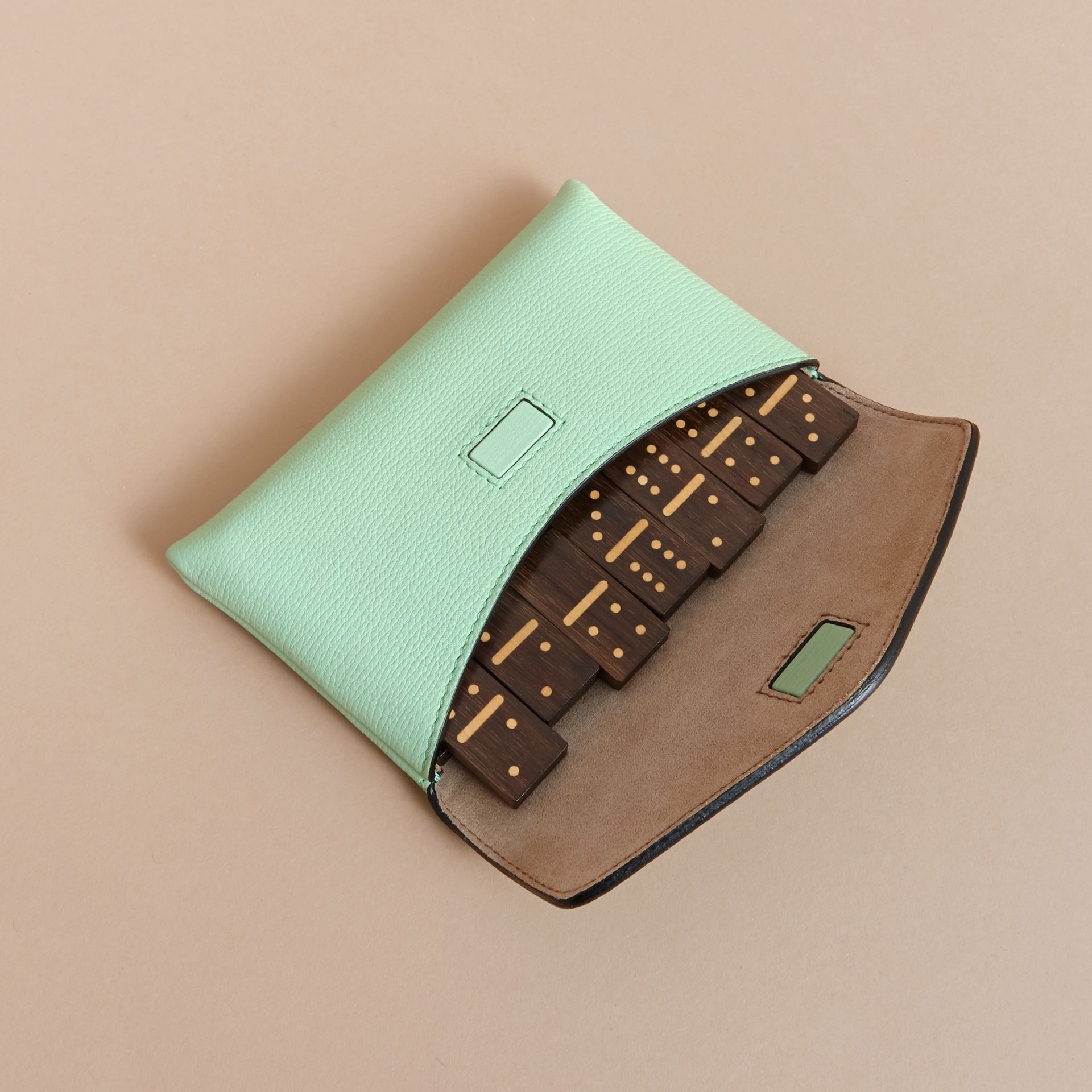 Wooden Domino Set with Grainy Leather Case in Light Mint - Women | Burberry Australia - gallery image 4
