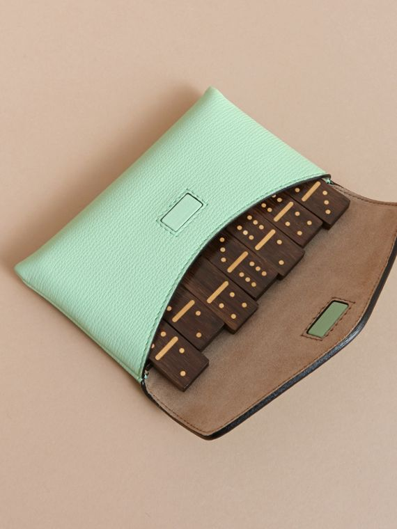 Wooden Domino Set with Grainy Leather Case in Light Mint - Women | Burberry Australia - cell image 3