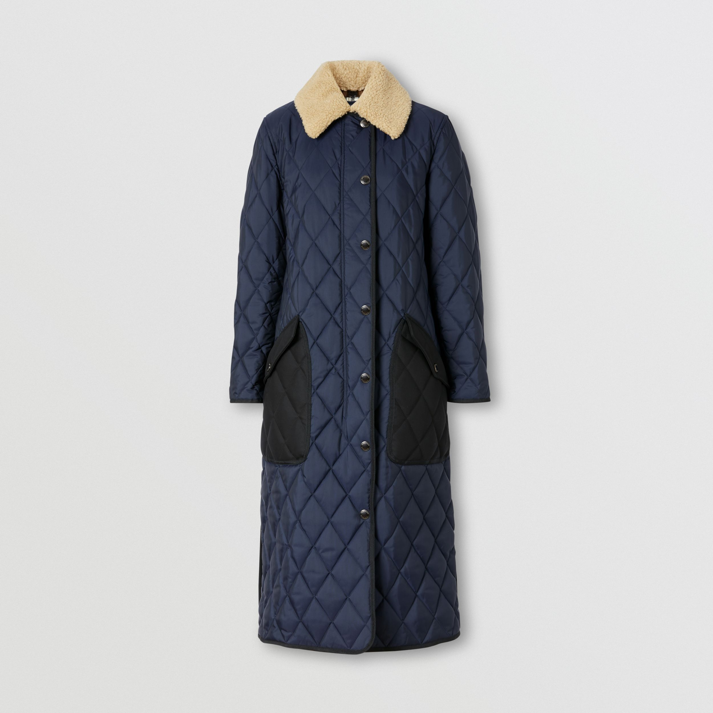 Detachable Fleece Collar Diamond Quilted Coat in Midnight Blue - Women | Burberry - 4