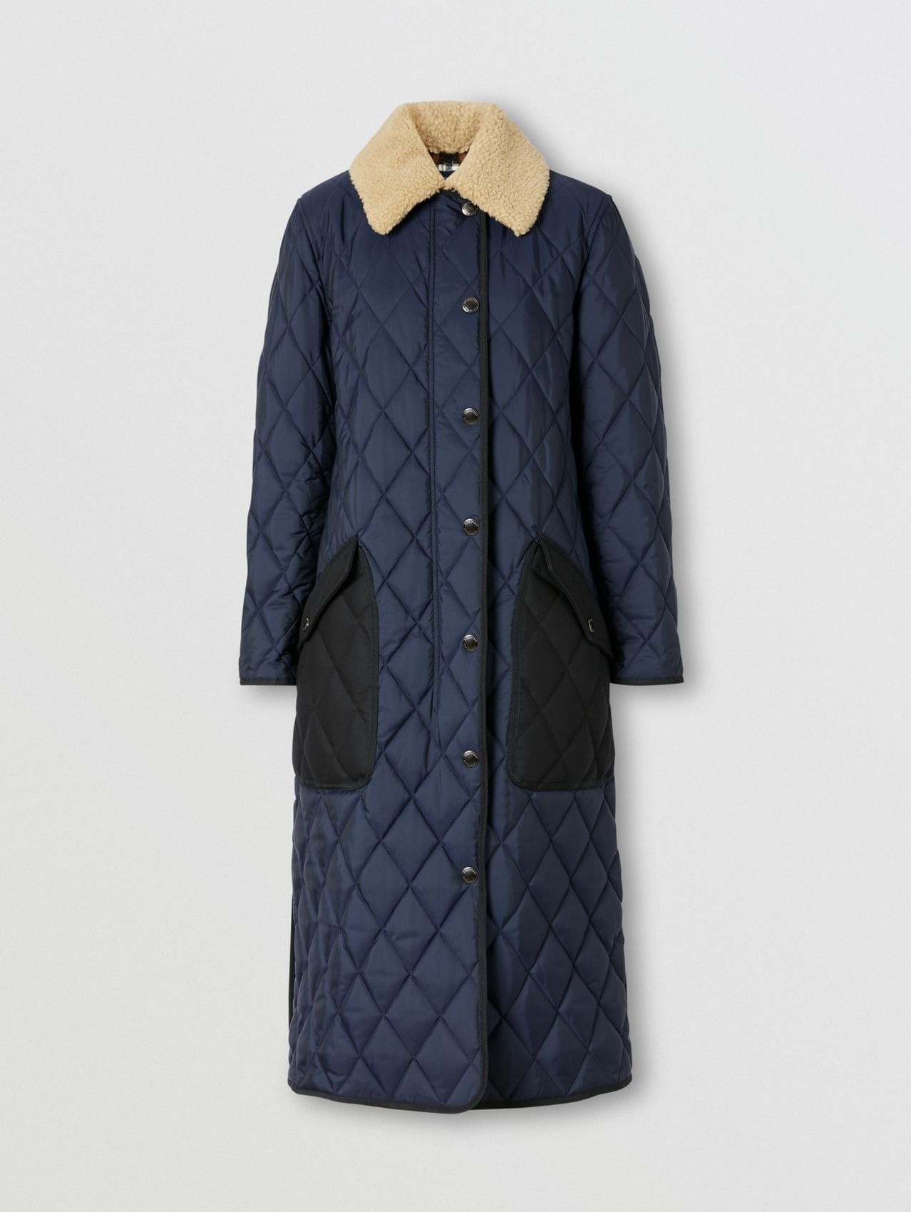 Detachable Fleece Collar Diamond Quilted Coat in Midnight Blue