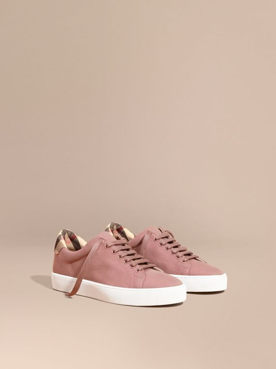 Check Detail Cotton Trainers - Women | Burberry