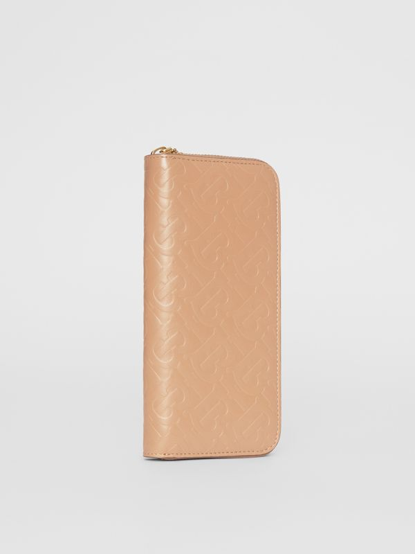 Monogram Leather Ziparound Wallet in Light Camel - Women | Burberry Canada - cell image 3