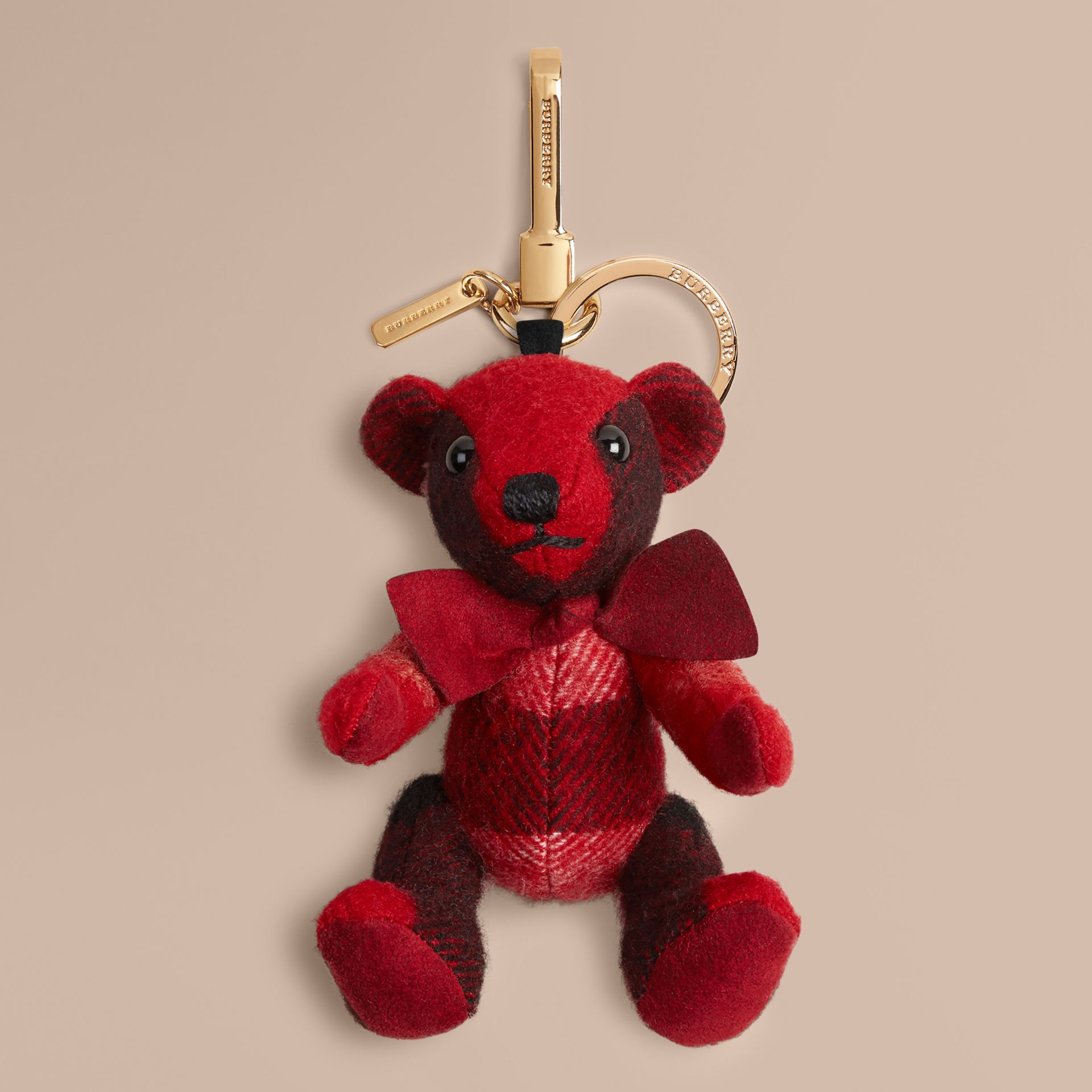 Rouge parade Bijou porte-clés Thomas Bear en cachemire à motif check Rouge Parade - photo de la galerie 1