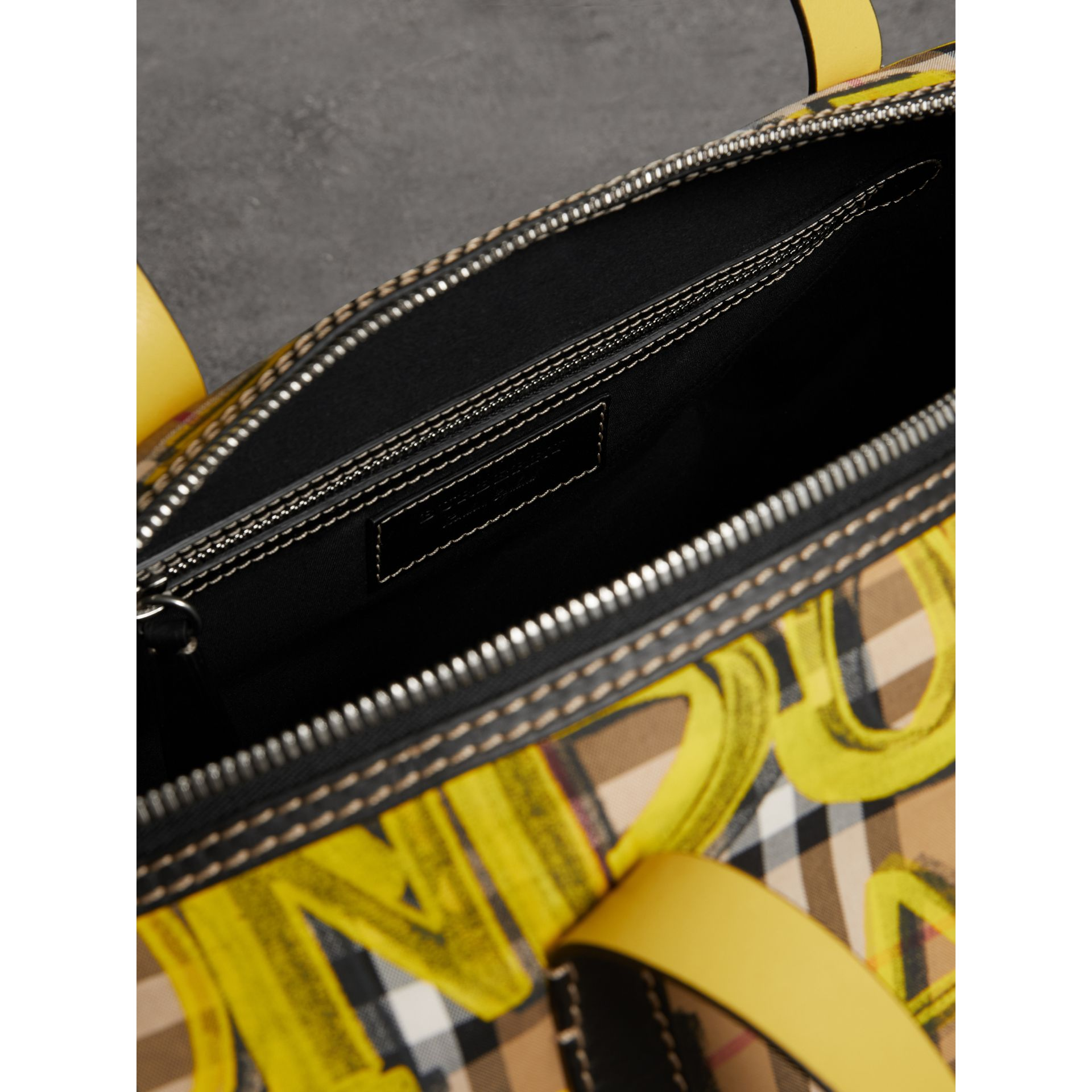 Medium Graffiti Print Vintage Check Barrel Bag in Bright Yellow/antique Yellow - Men | Burberry United Kingdom - gallery image 3