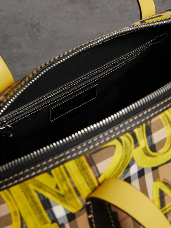 Medium Graffiti Print Vintage Check Barrel Bag in Bright Yellow/antique Yellow - Men | Burberry United Kingdom - cell image 3