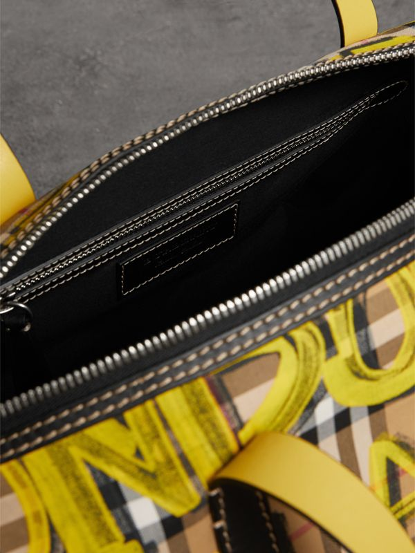 Medium Graffiti Print Vintage Check Barrel Bag in Bright Yellow/antique Yellow - Men | Burberry - cell image 3