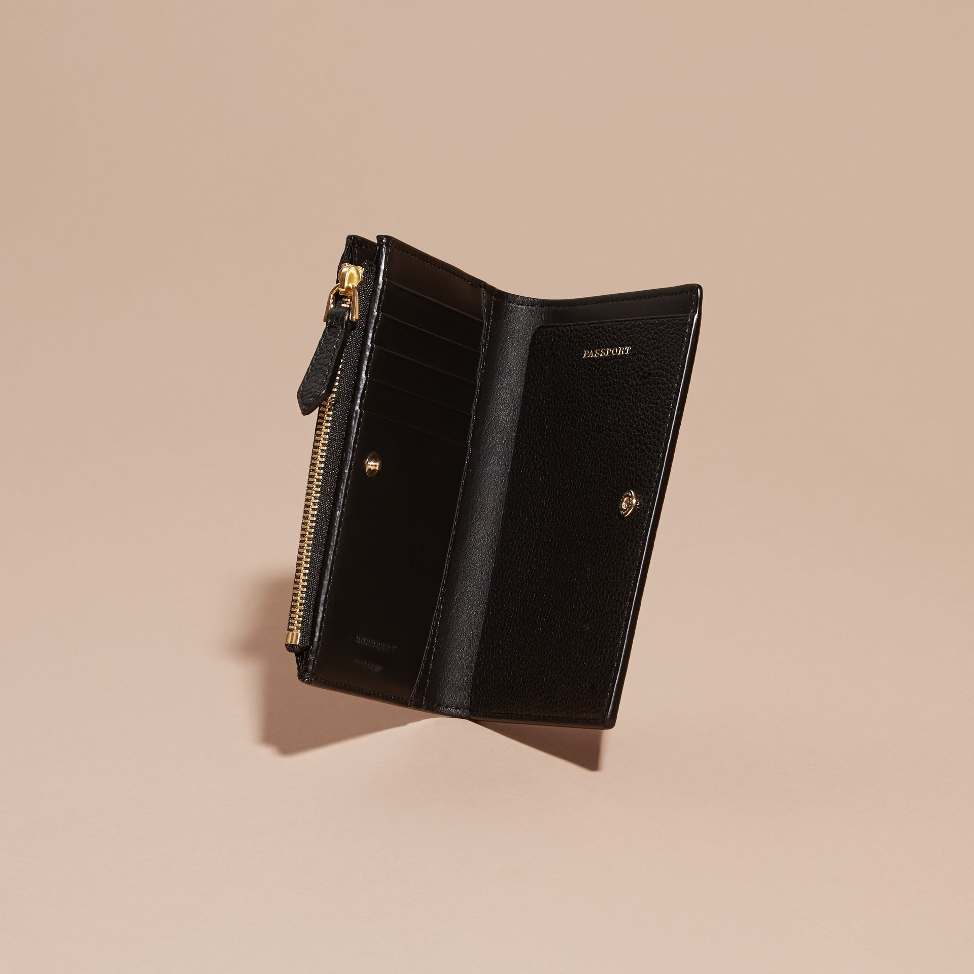 Leather Passport Wallet in Black | Burberry - gallery image 5
