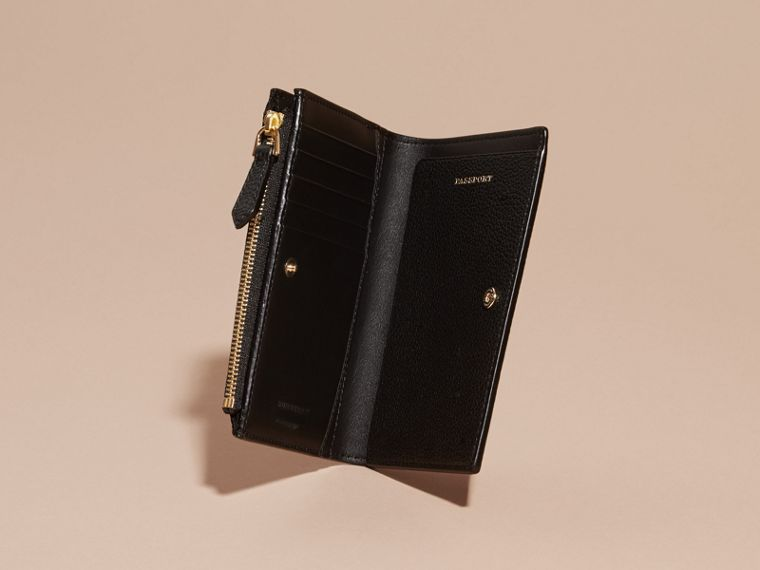 Leather Passport Wallet in Black | Burberry Canada - cell image 4