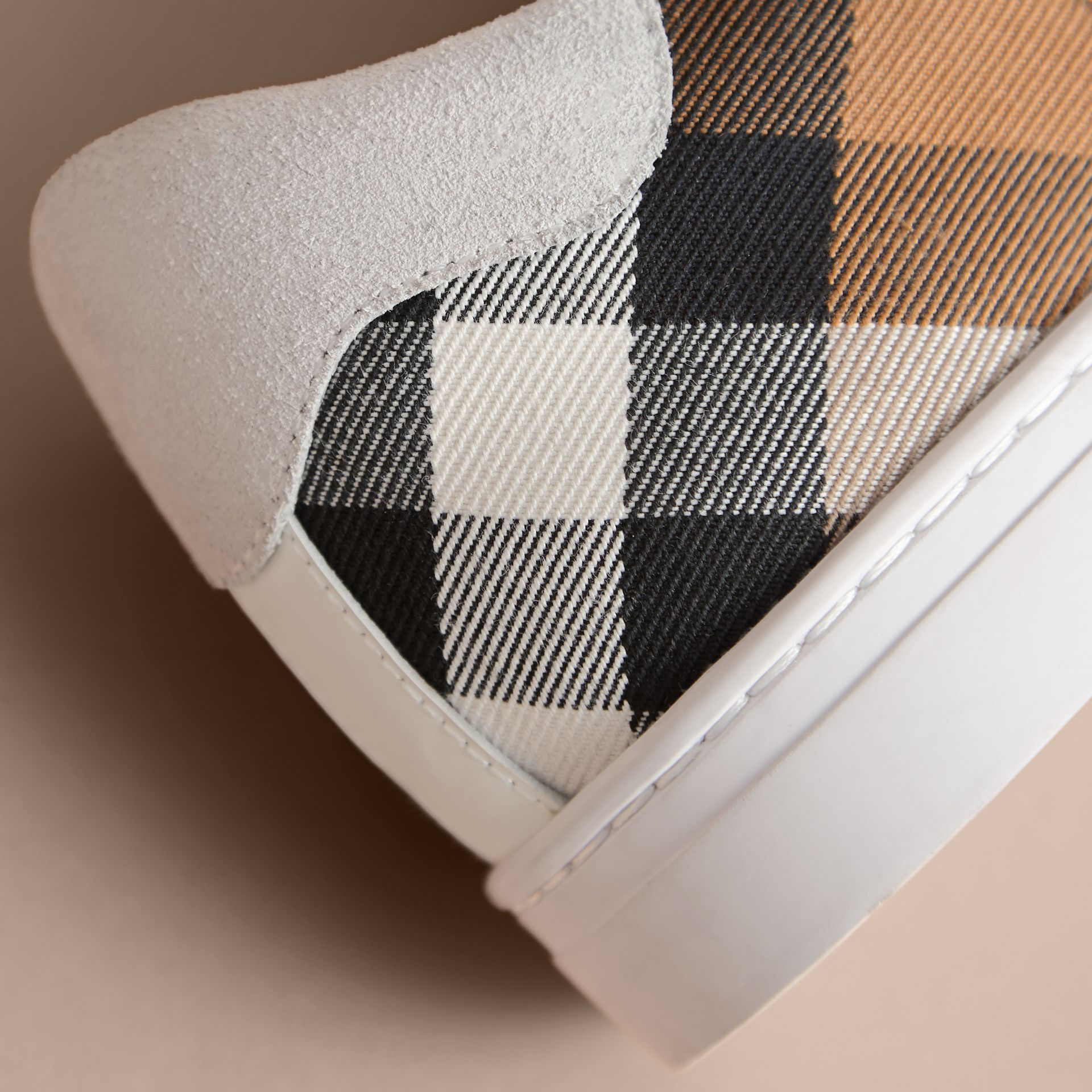 Leather and House Check Trainers in Optic White - Men | Burberry - gallery image 2