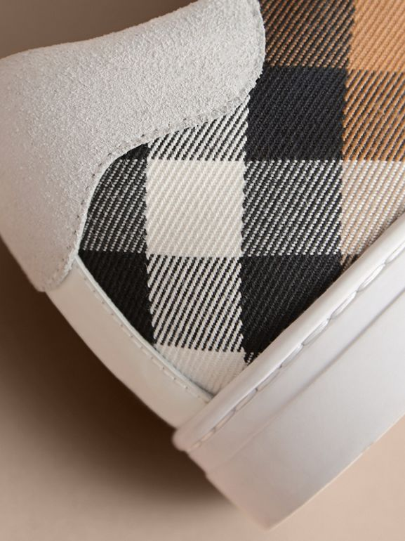 Sneakers en cuir et tissu House check (Blanc Optique) - Homme | Burberry Canada - cell image 1