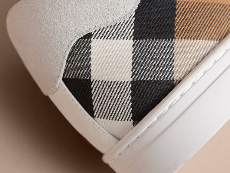 Leather and House Check Trainers in Optic White - Men | Burberry Hong Kong - cell image 1