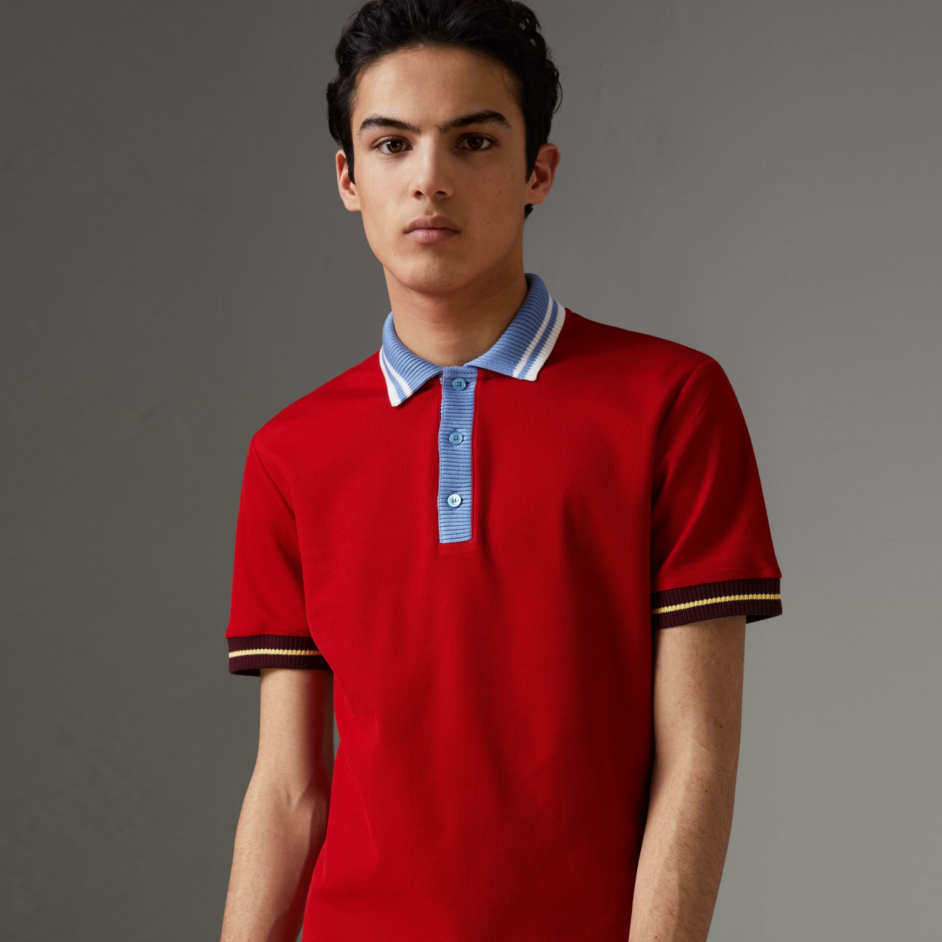 Two-tone Stripe Knitted Detail Cotton Polo Shirt in Cadmium Red - Men | Burberry - gallery image 0