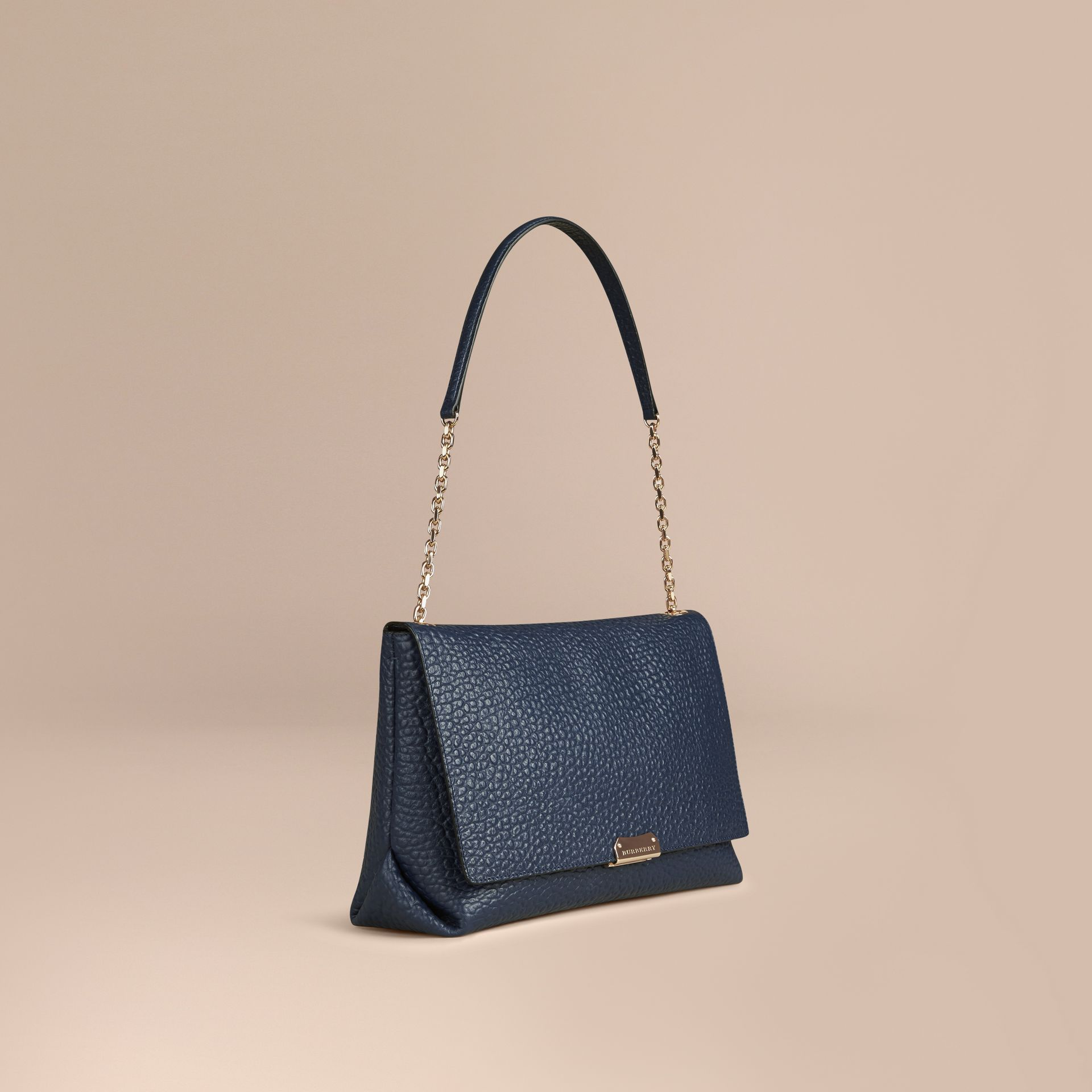 Blue carbon Large Signature Grain Leather Shoulder Bag Blue Carbon - gallery image 1