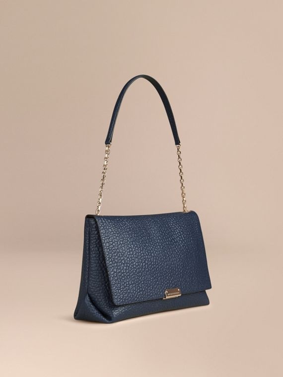 Large Signature Grain Leather Shoulder Bag Blue Carbon