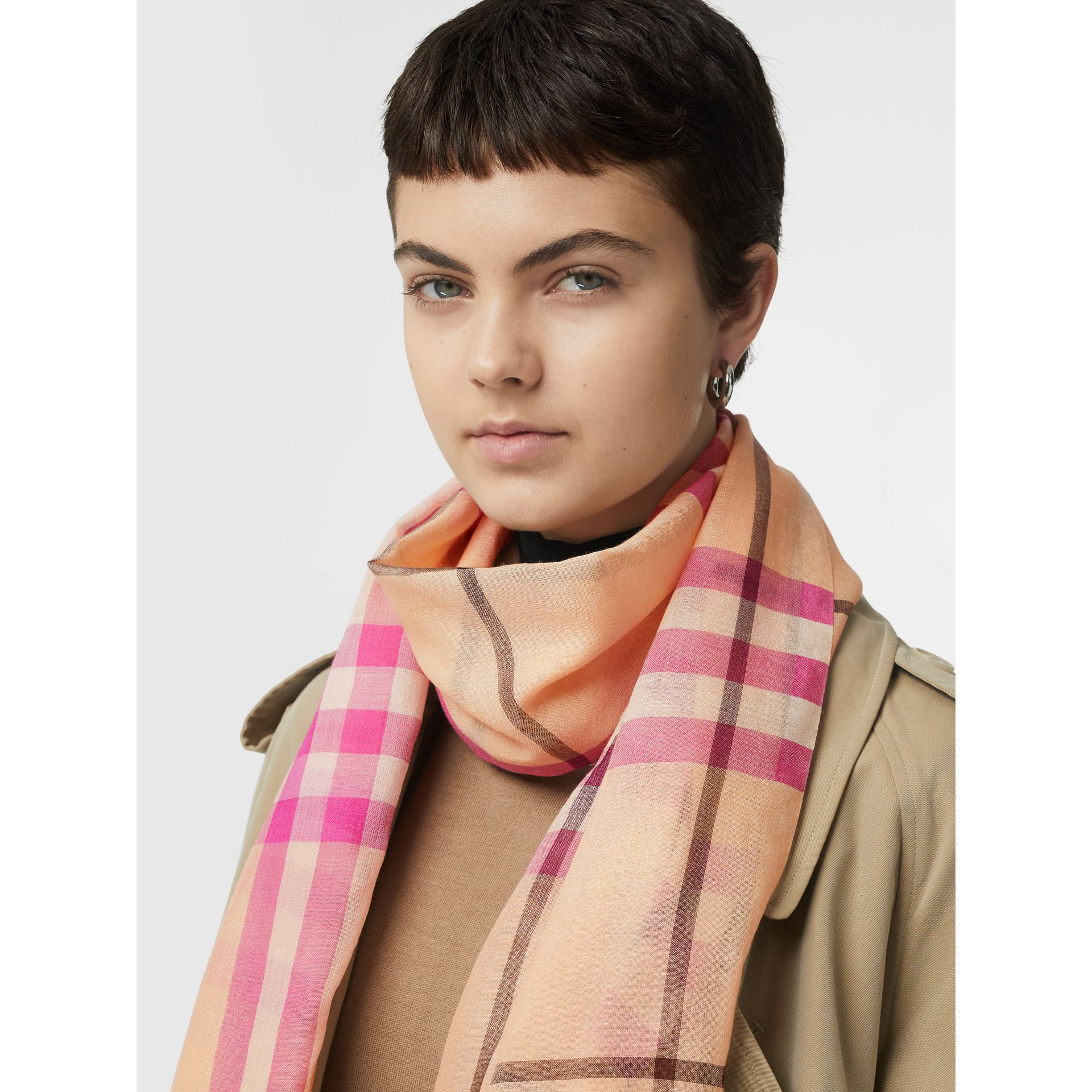 Lightweight Check Wool and Silk Scarf in Pale Apricot | Burberry Australia - gallery image 5