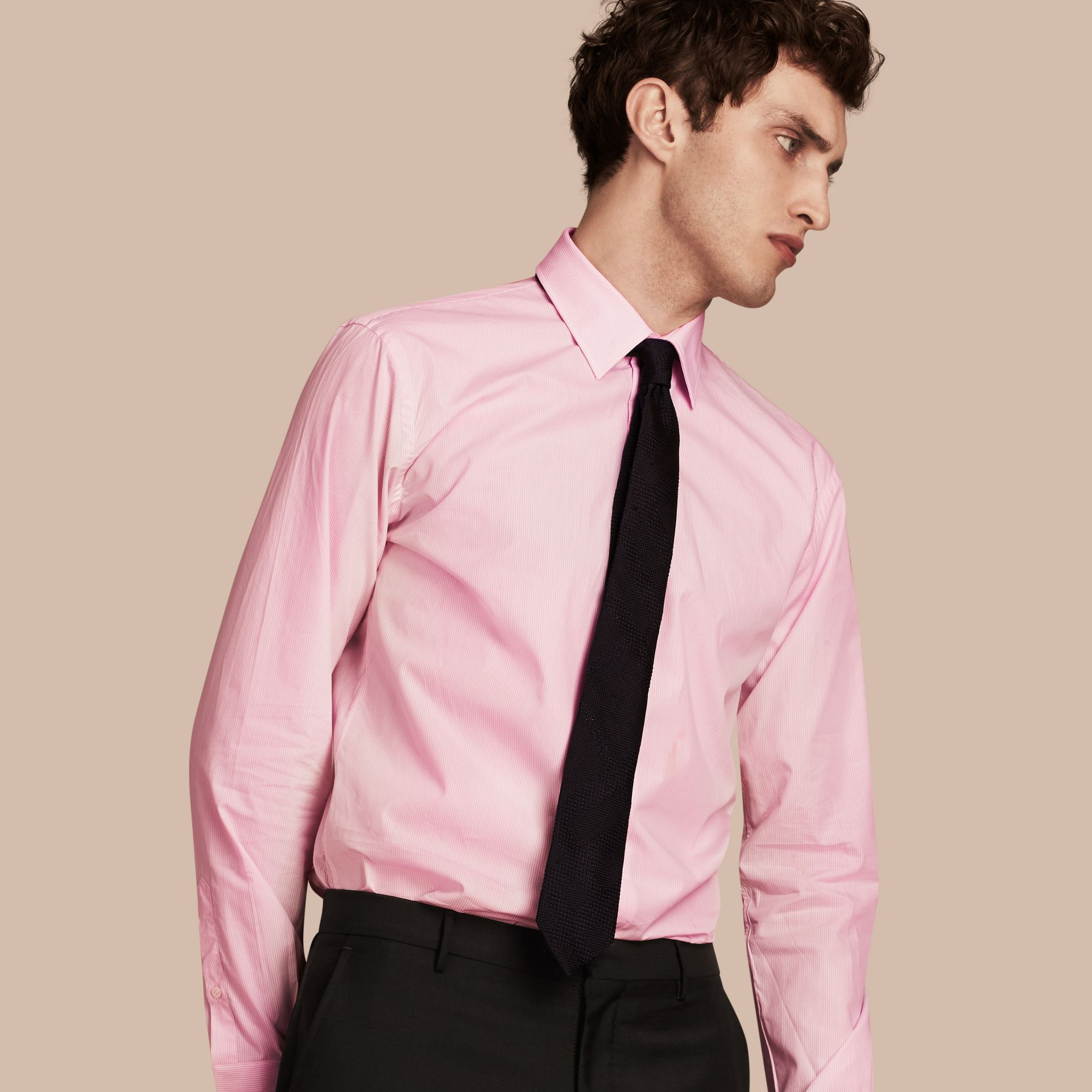 Modern Fit Striped Cotton Poplin Shirt in City Pink - gallery image 1
