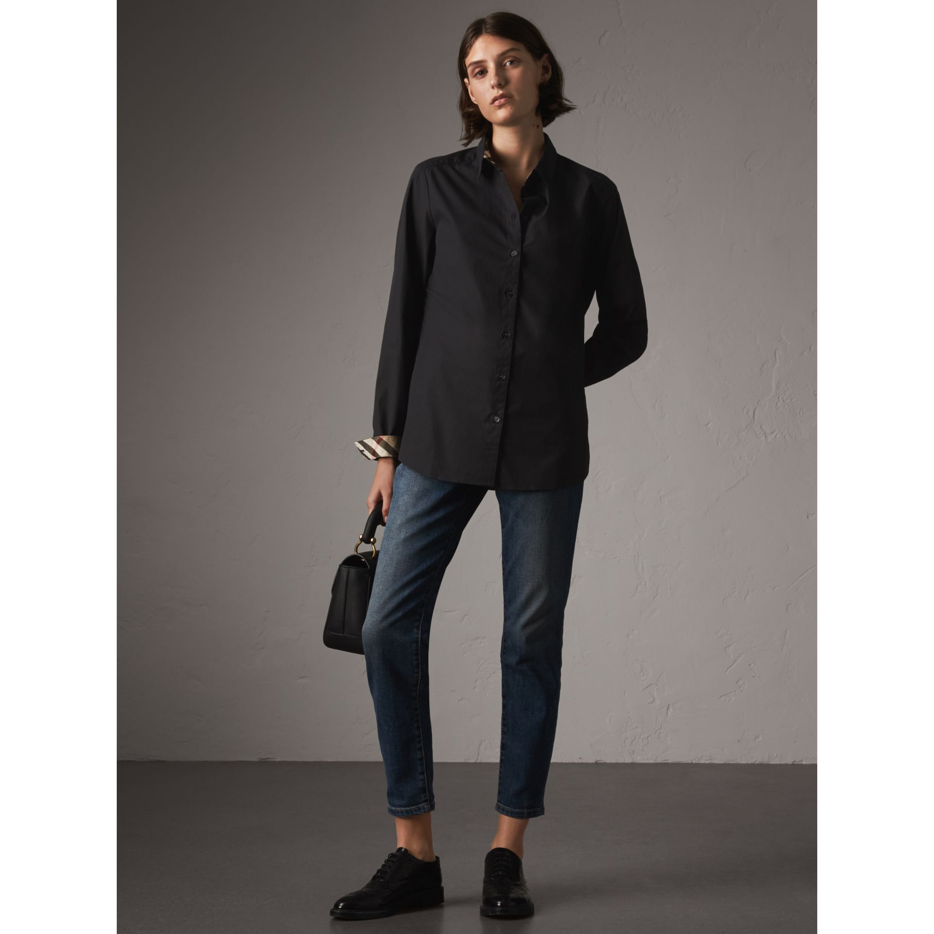 Check Detail Stretch-cotton Shirt in Black - Women | Burberry Australia - gallery image 0