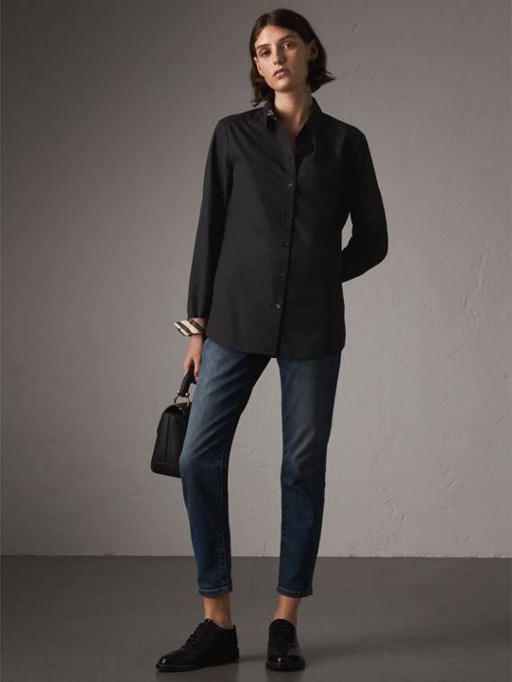 Check Detail Stretch-cotton Shirt in Black
