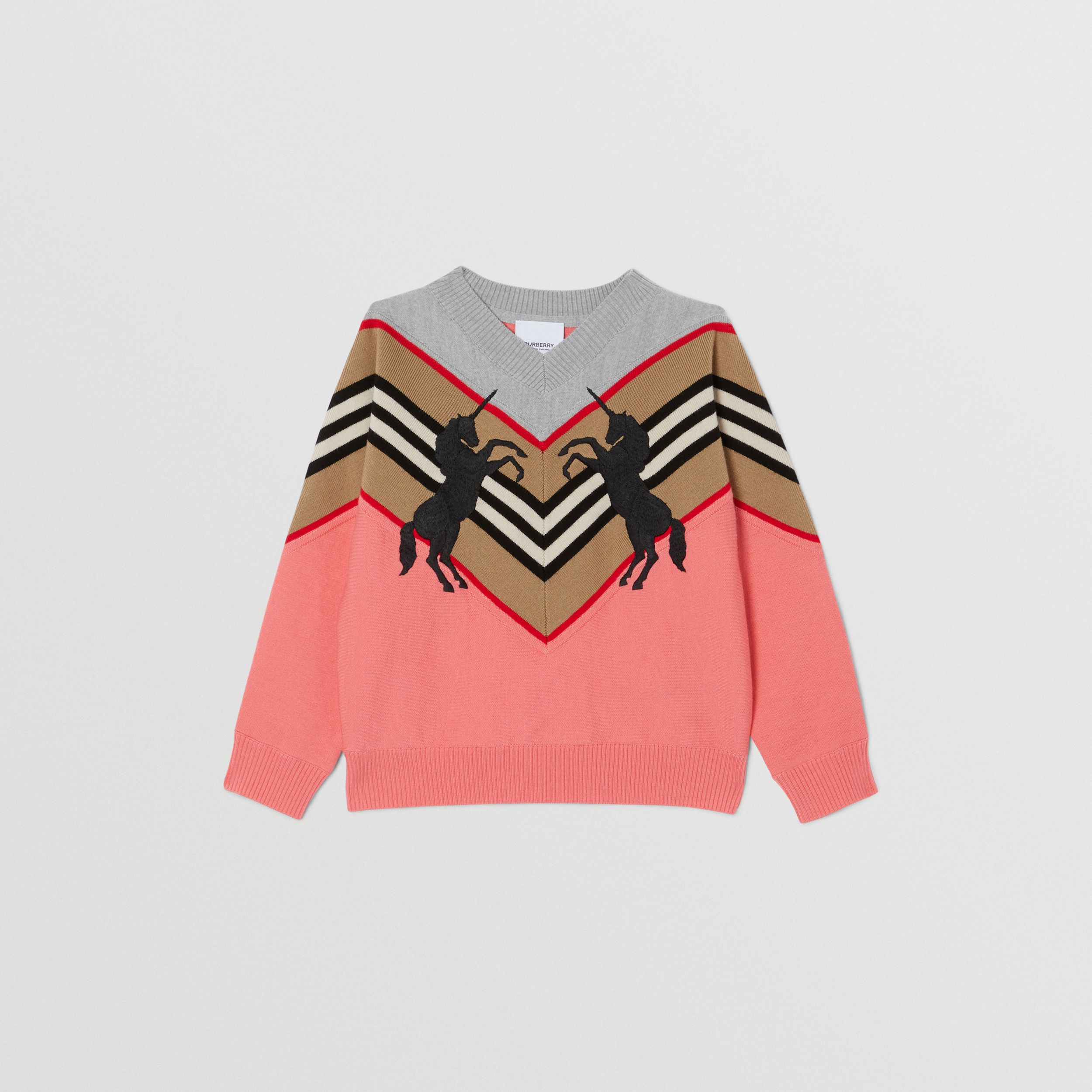 Unicorn Embroidered Technical Wool Sweater in Peach | Burberry - 1