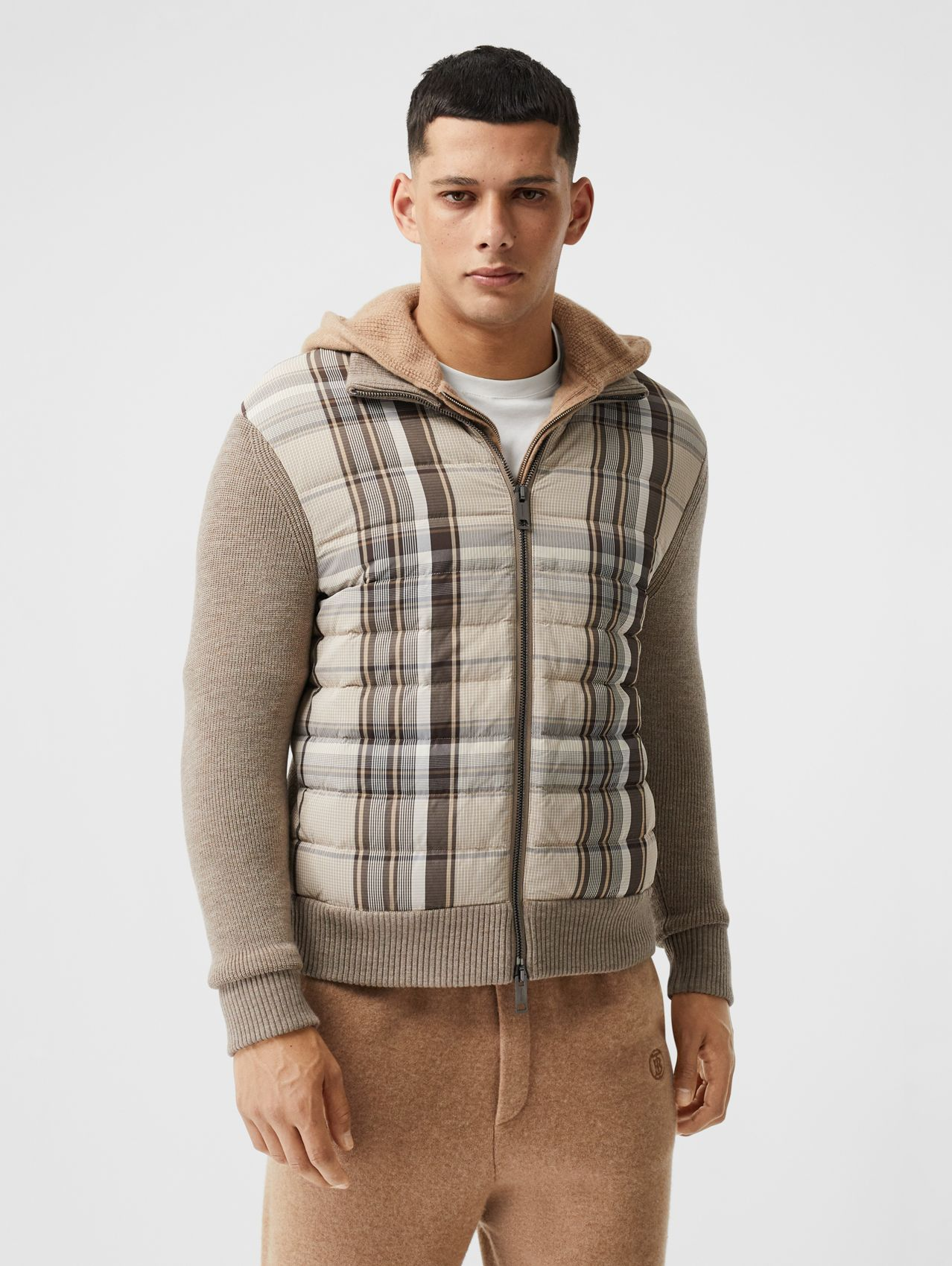 Check Puffer Panel Merino Wool Knitted Jacket in Birch Brown