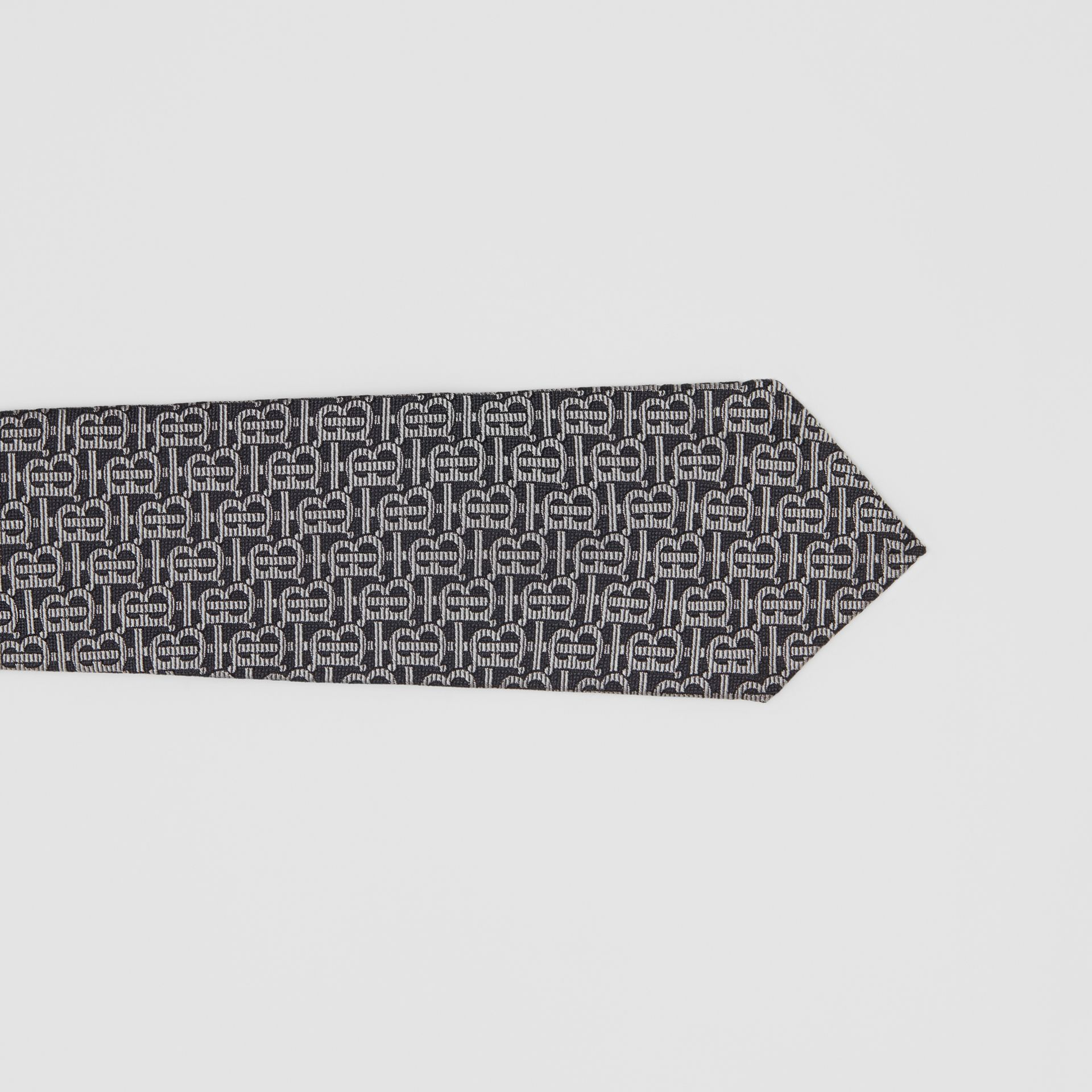 Classic Cut Monogram Silk Jacquard Tie in Mid Grey - Men | Burberry Canada - gallery image 1
