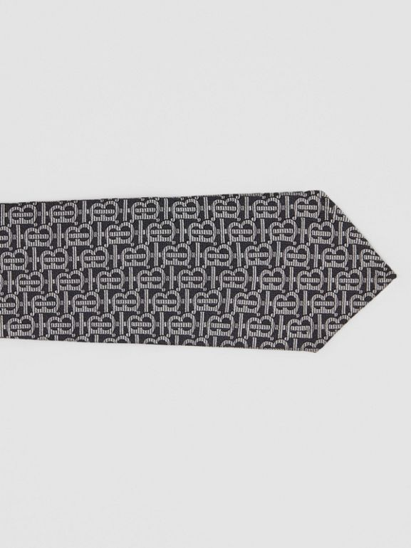 Classic Cut Monogram Silk Jacquard Tie in Mid Grey - Men | Burberry Singapore - cell image 1