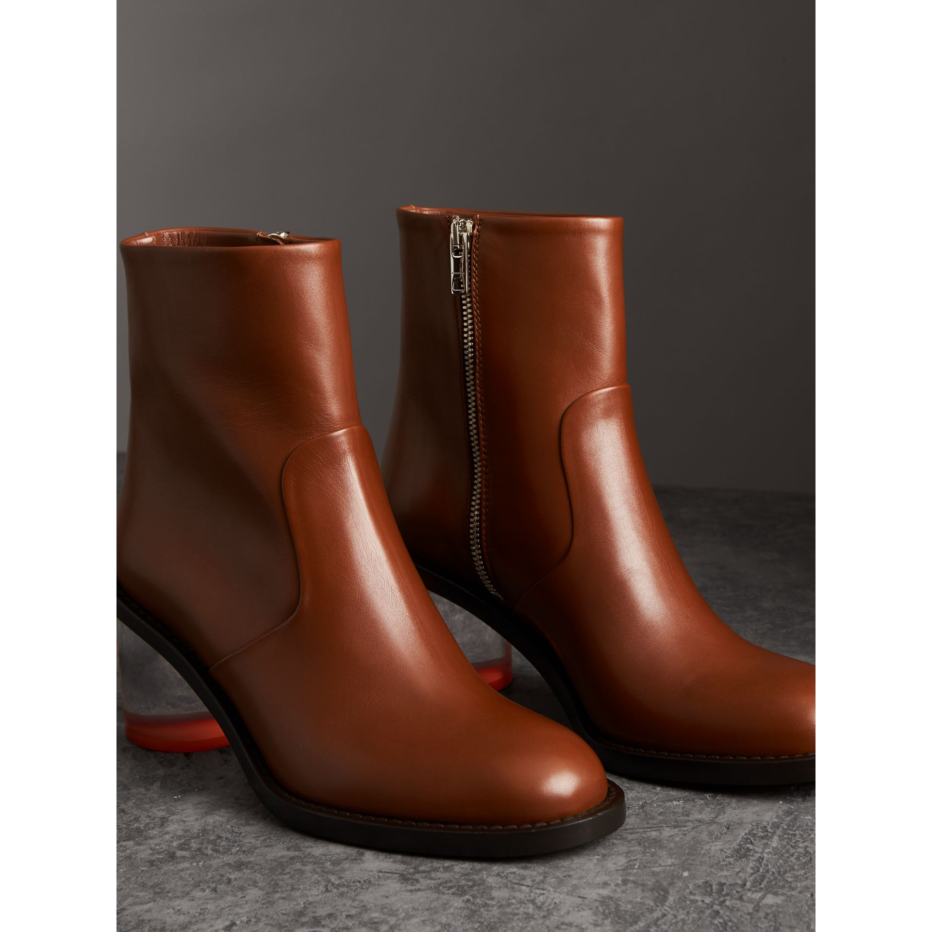 Two-tone Leather Block-heel Boots in Cognac - Women | Burberry - gallery image 4