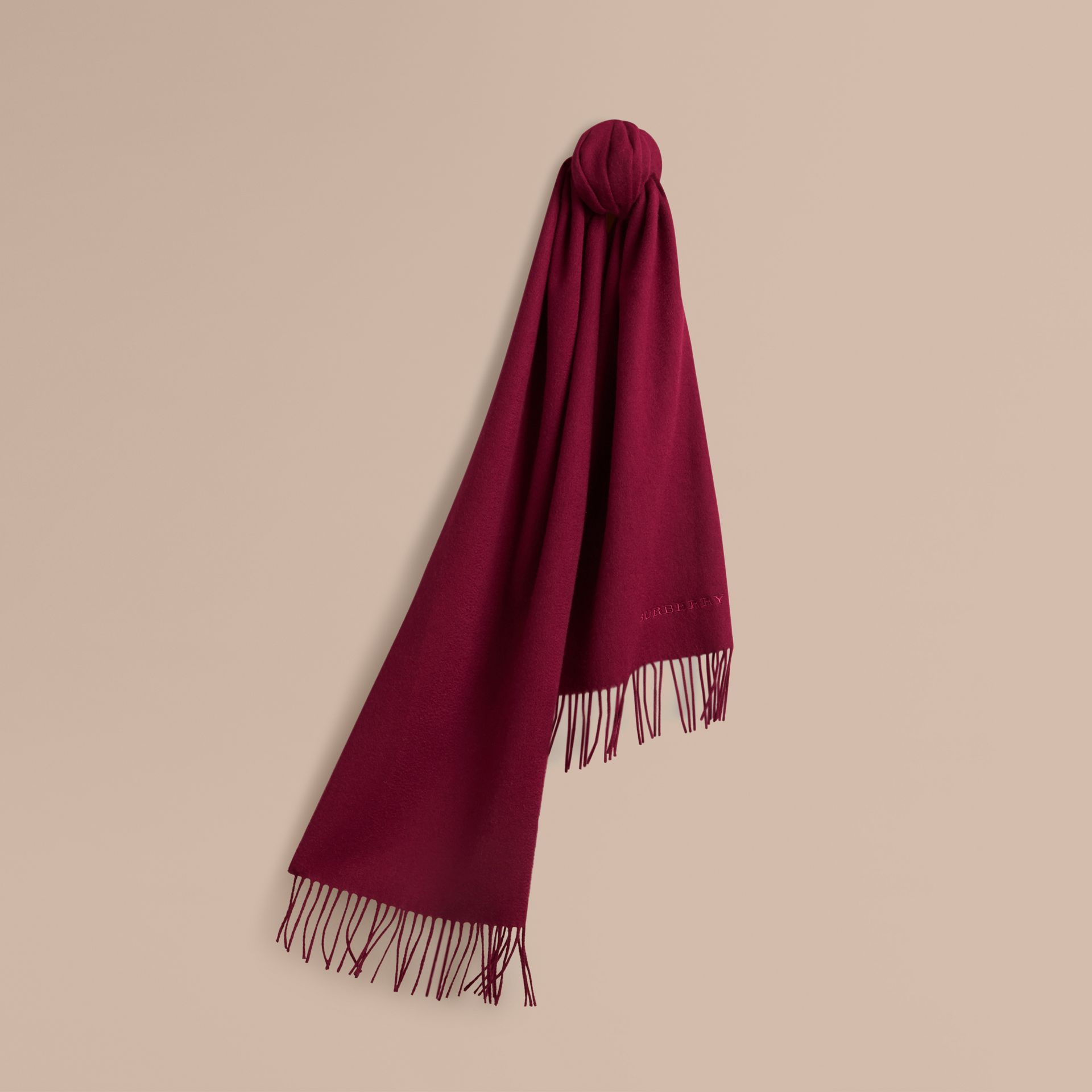 The Classic Cashmere Scarf in Plum | Burberry Hong Kong - gallery image 6