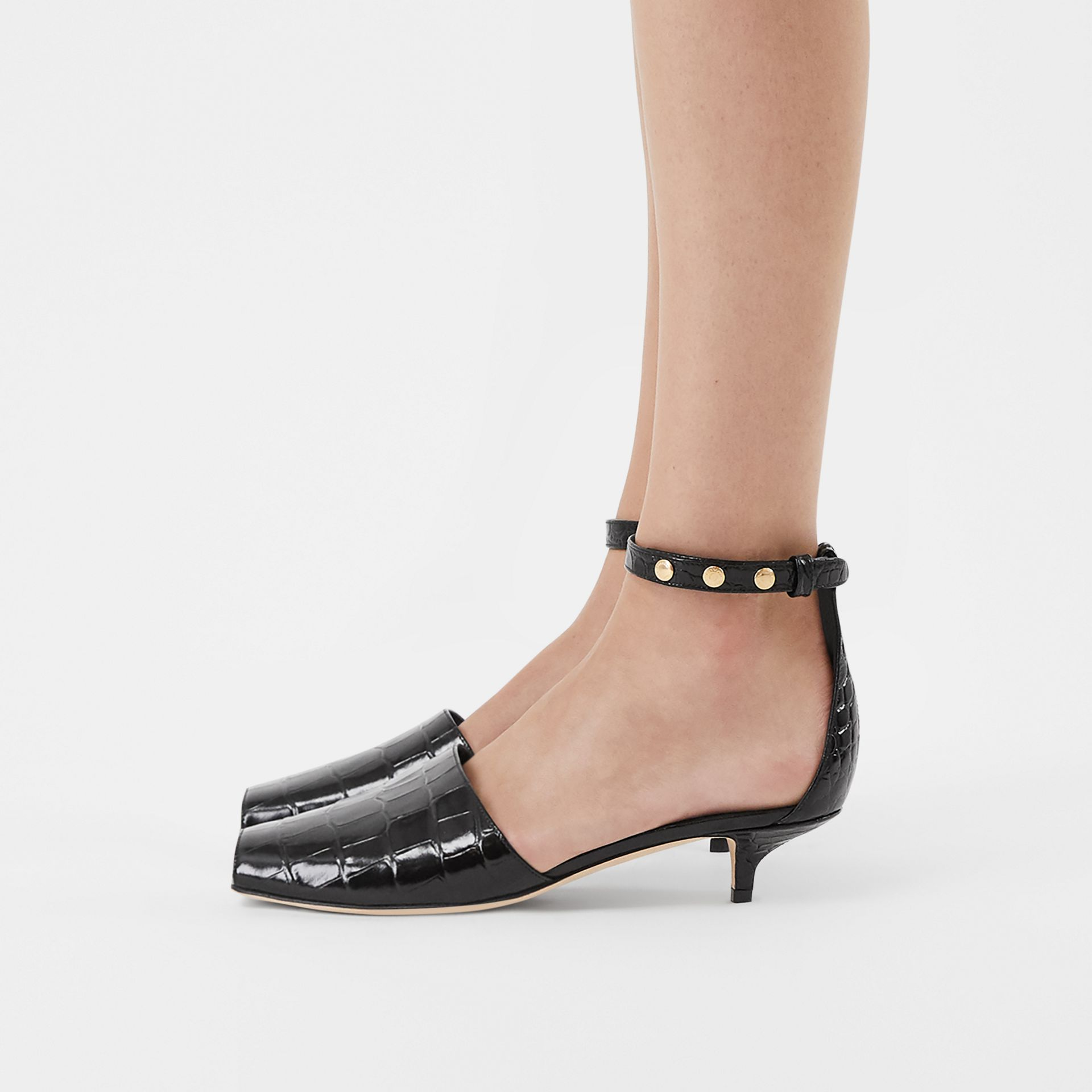 Triple Stud Embossed Leather Sandals in Black - Women | Burberry - gallery image 2