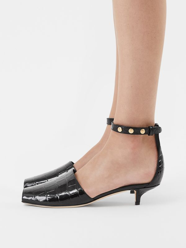Triple Stud Embossed Leather Sandals in Black - Women | Burberry - cell image 2