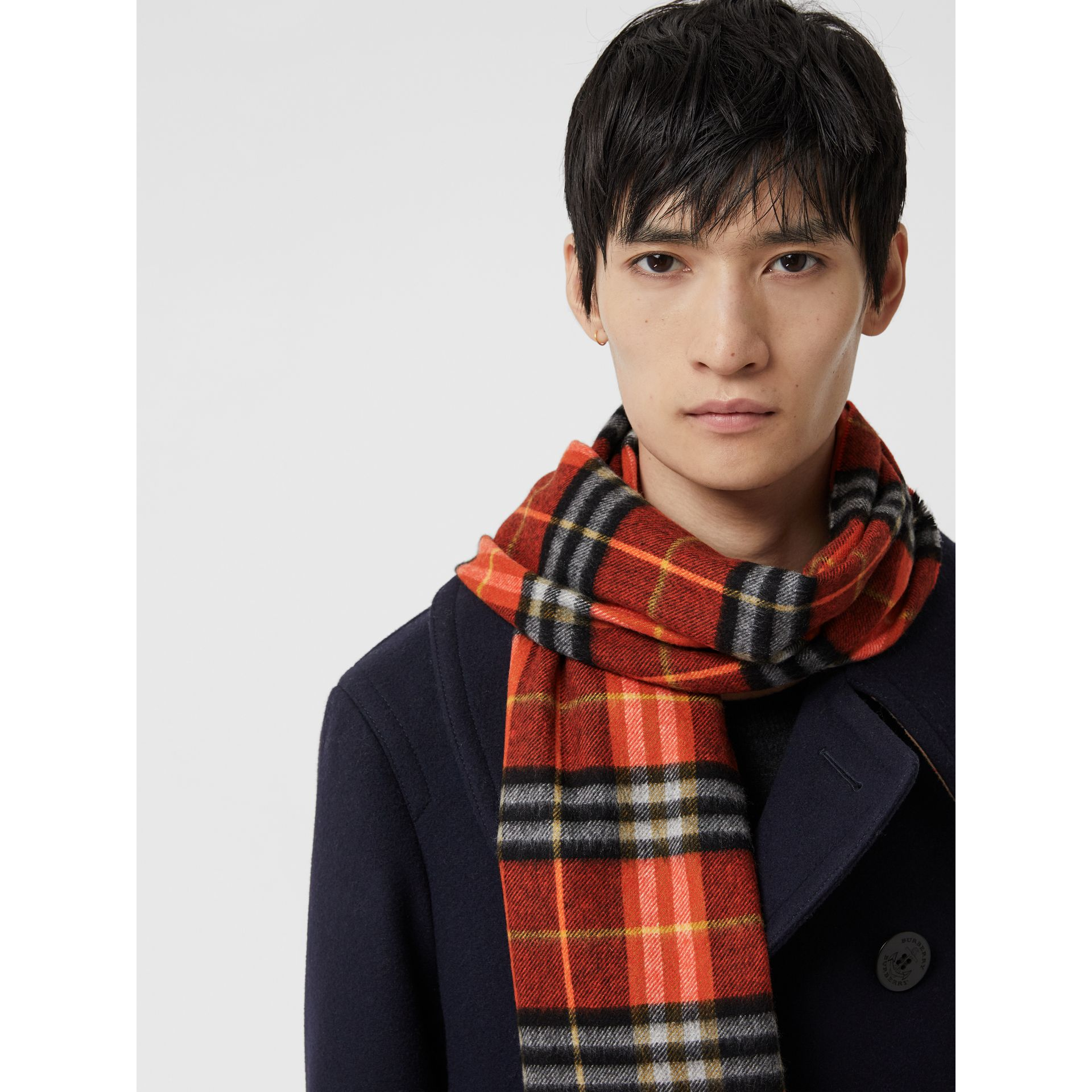 Check Cashmere Scarf in Orange Red | Burberry Hong Kong - gallery image 6