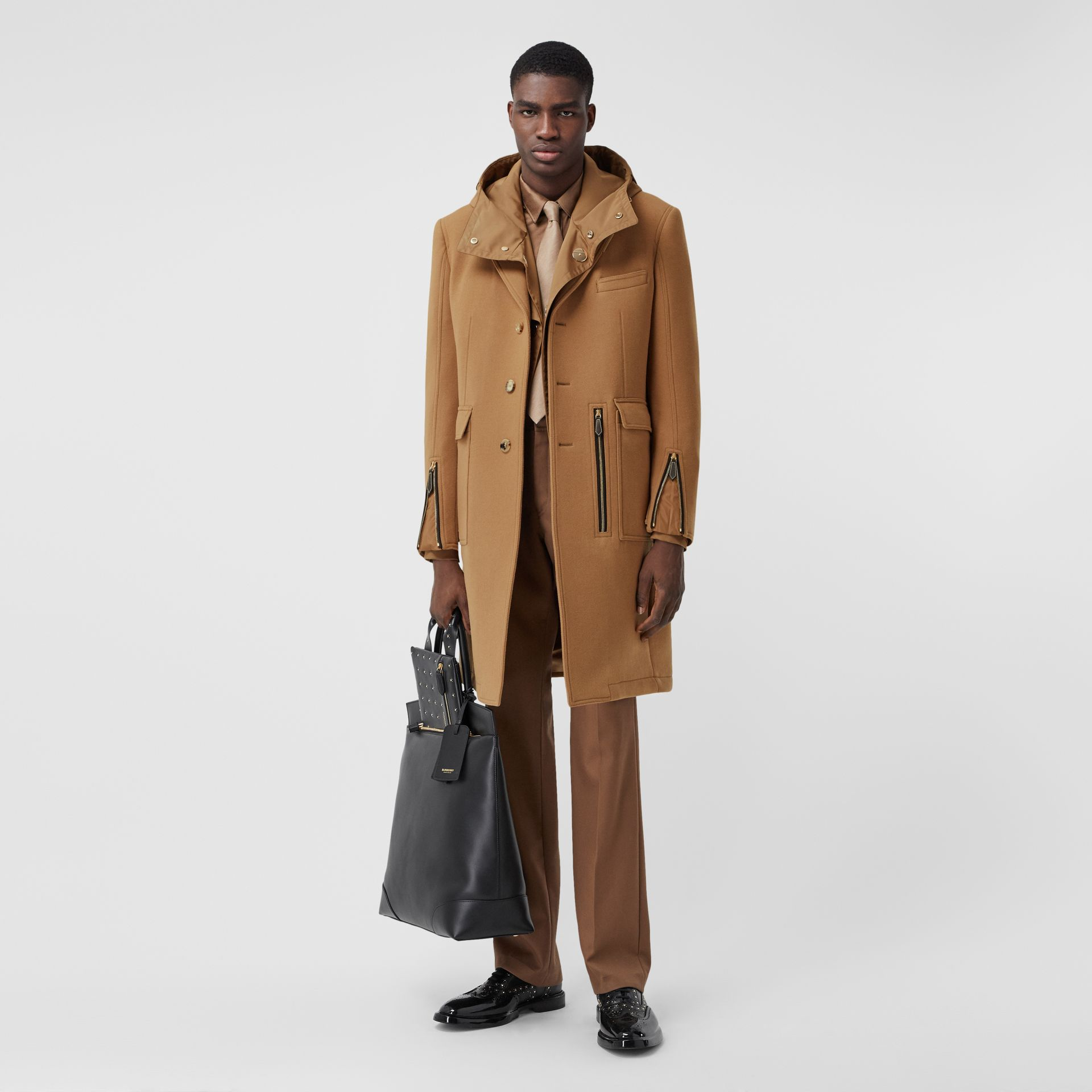 Zip Detail Wool Tailored Coat in Warm Camel - Men | Burberry - gallery image 0