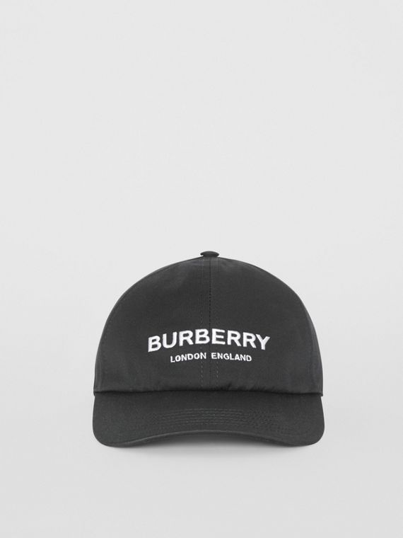 Logo Print Baseball Cap in Black