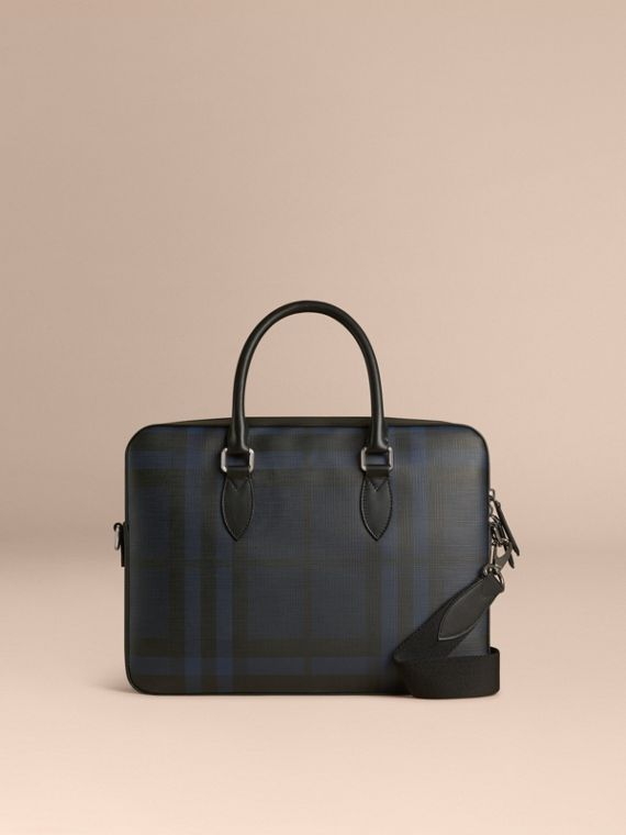 Medium Leather Trim London Check Briefcase in Navy/black - Men | Burberry Australia - cell image 3