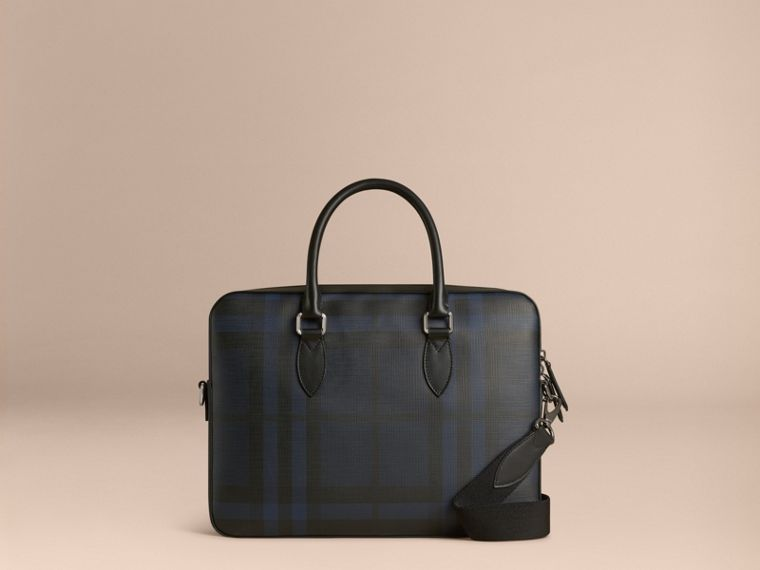 Medium Leather Trim London Check Briefcase in Navy/black - Men | Burberry Singapore - cell image 4