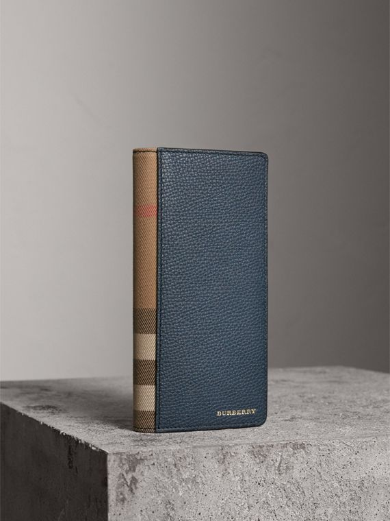 House Check and Grainy Leather Continental Wallet in Storm Blue