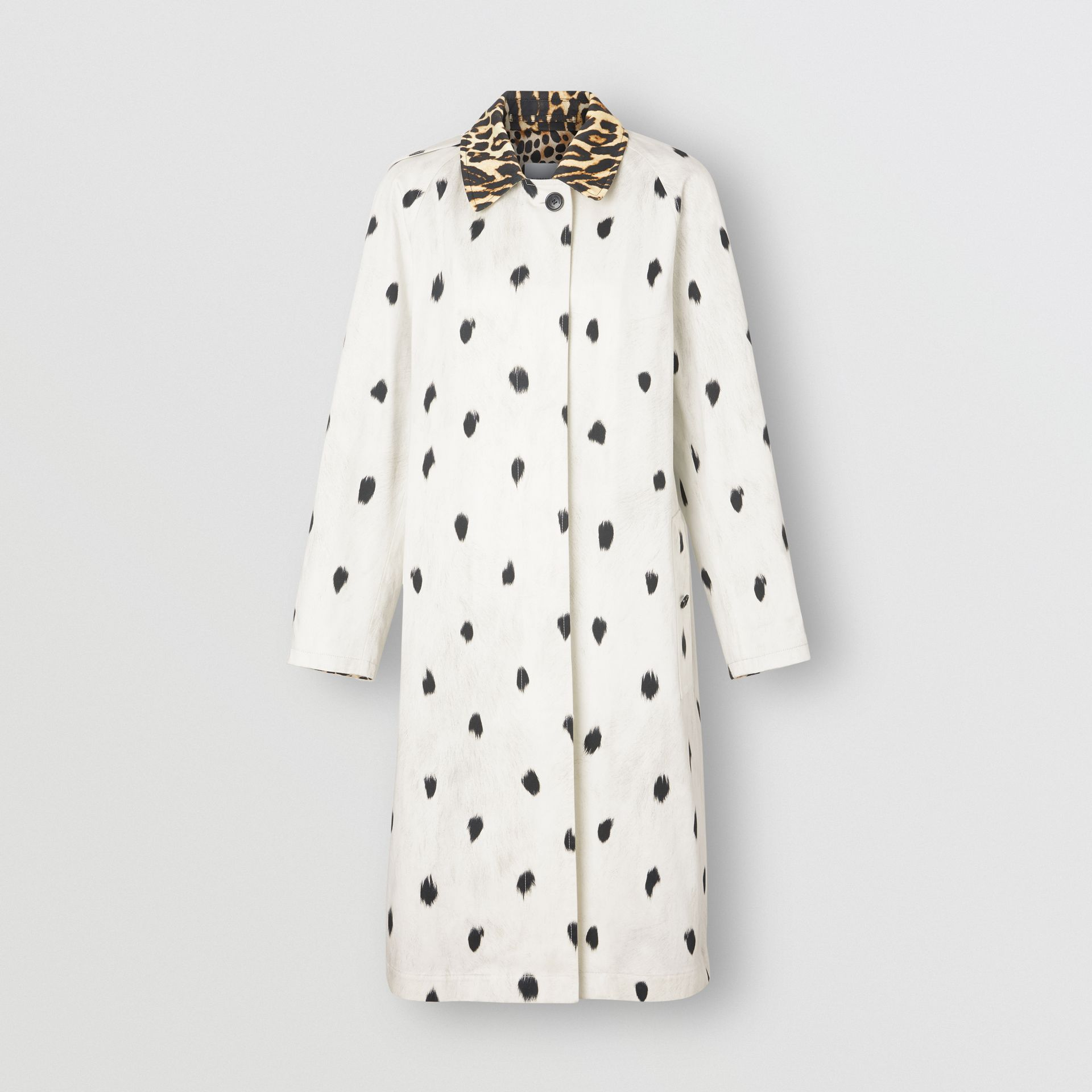 Animal Print Cotton Car Coat in White - Women | Burberry - gallery image 3