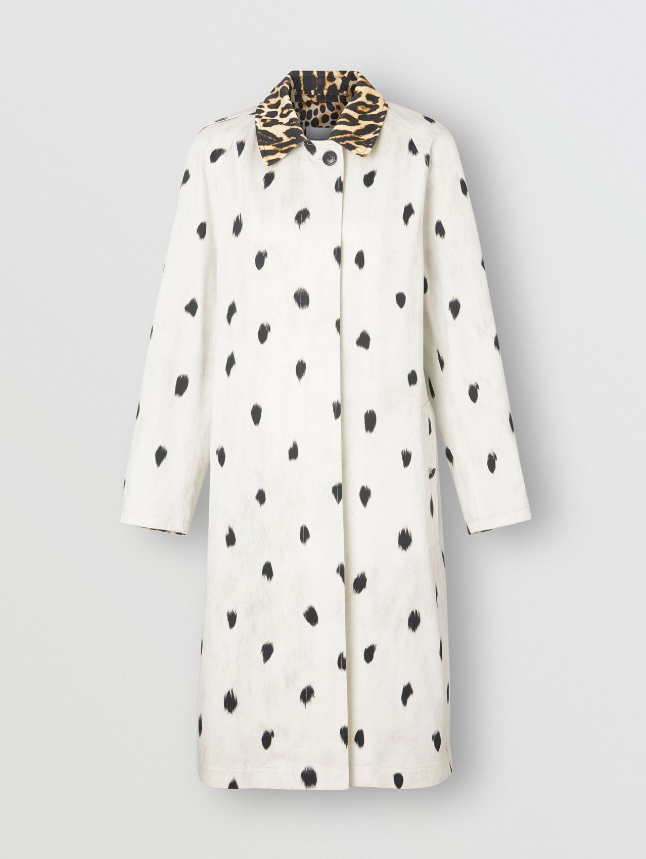 Animal Print Cotton Car Coat in White